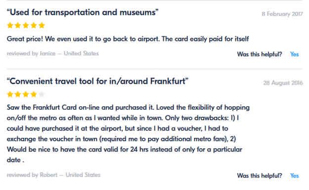 Frankfurt Card Get Your Guide ratings and reviews