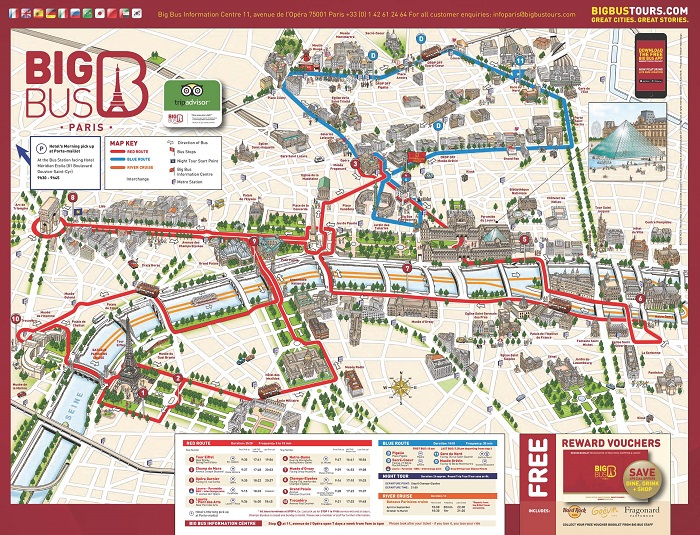 Big Bus Tour + Eiffel Tower + Cruise Bus Map
