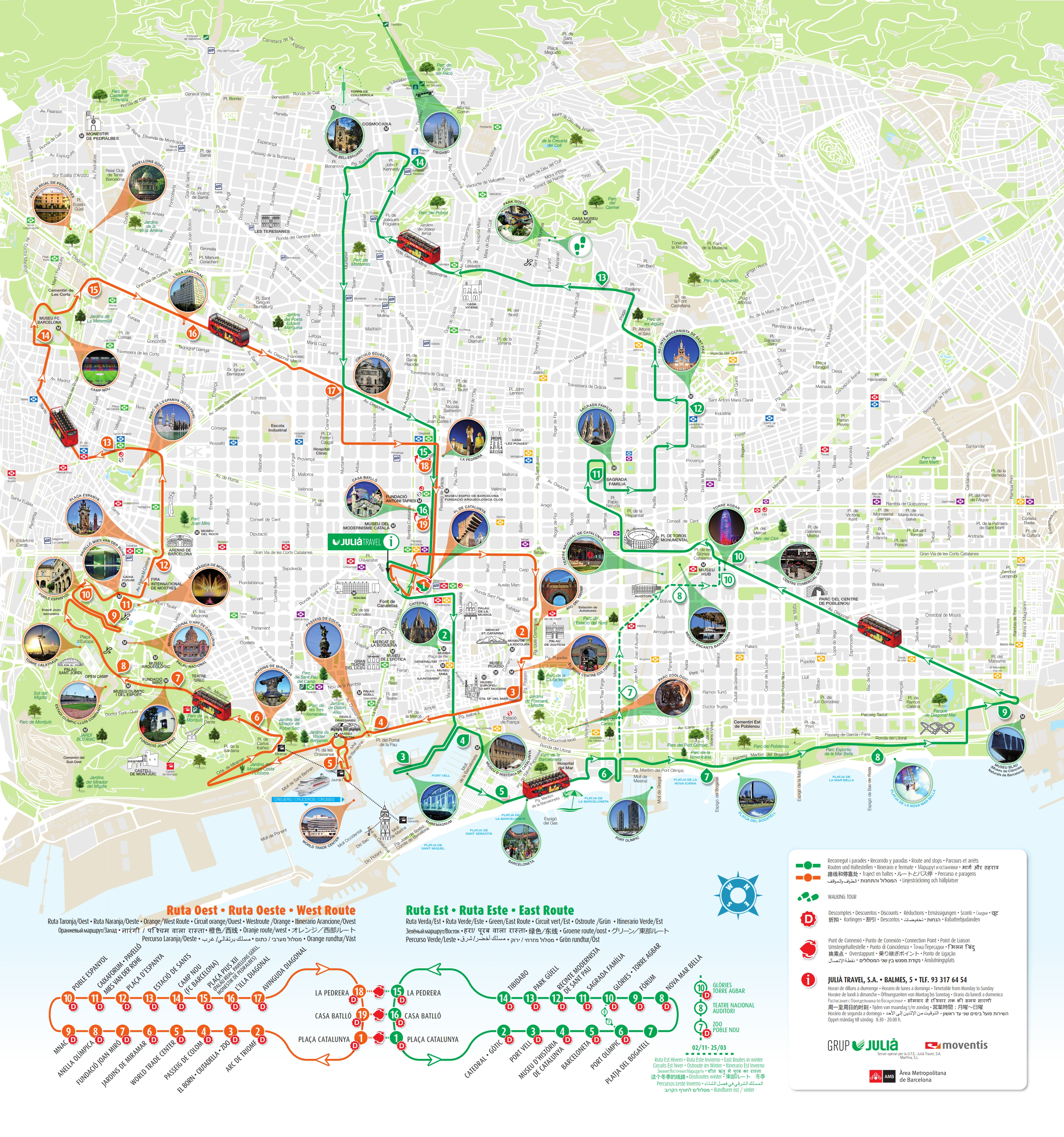 Barcelona Sightseeing Hop on Hop off Bus Map