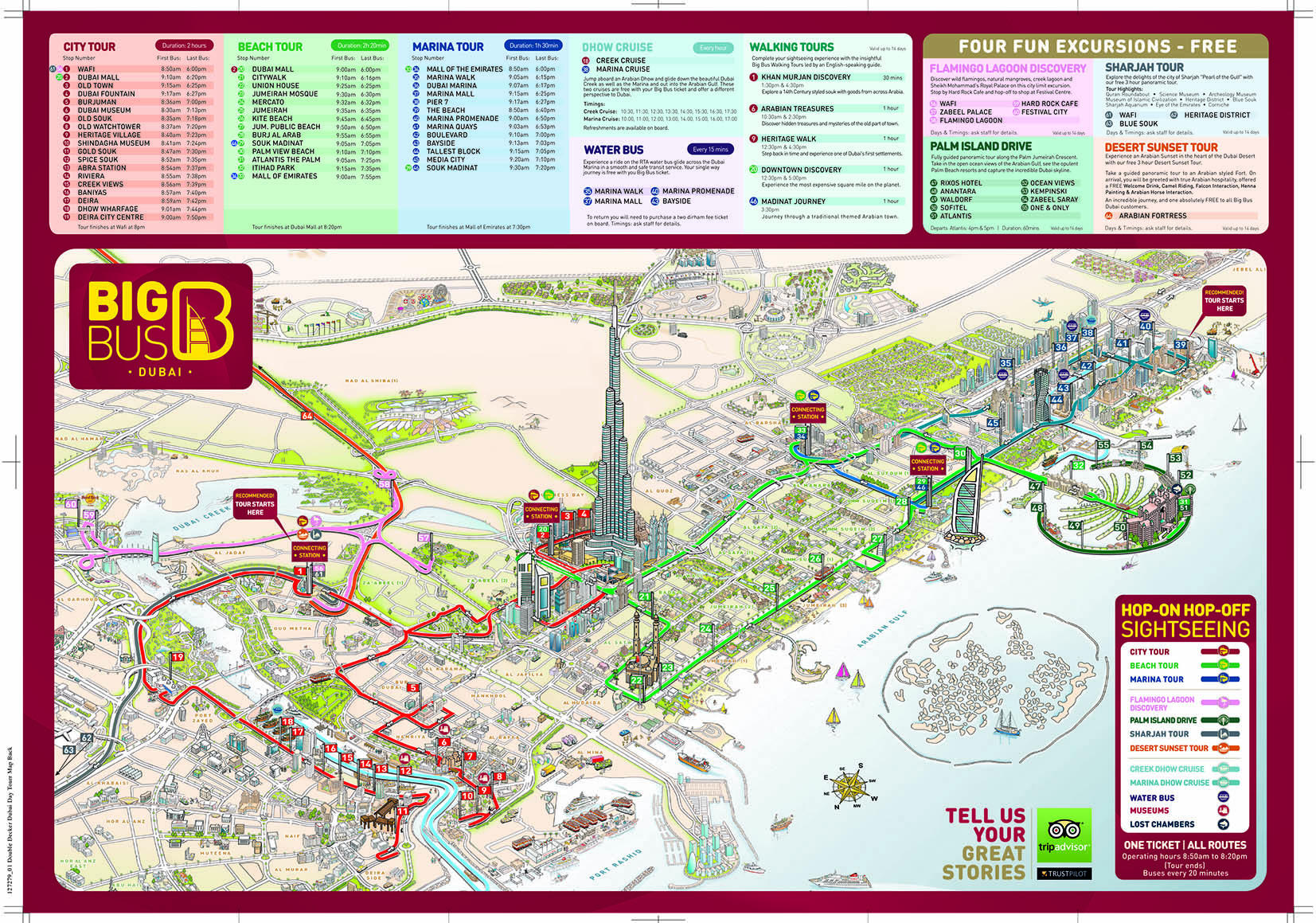Dubai Big Bus Hop-On Hop-Off Bus Map
