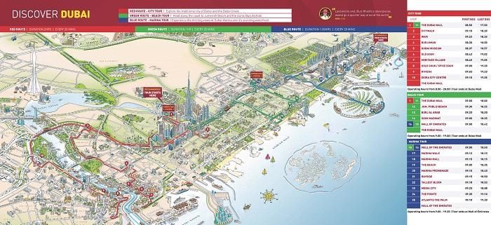 Big Bus Dubai and Abu Dhabi Hop-on Hop-off Map
