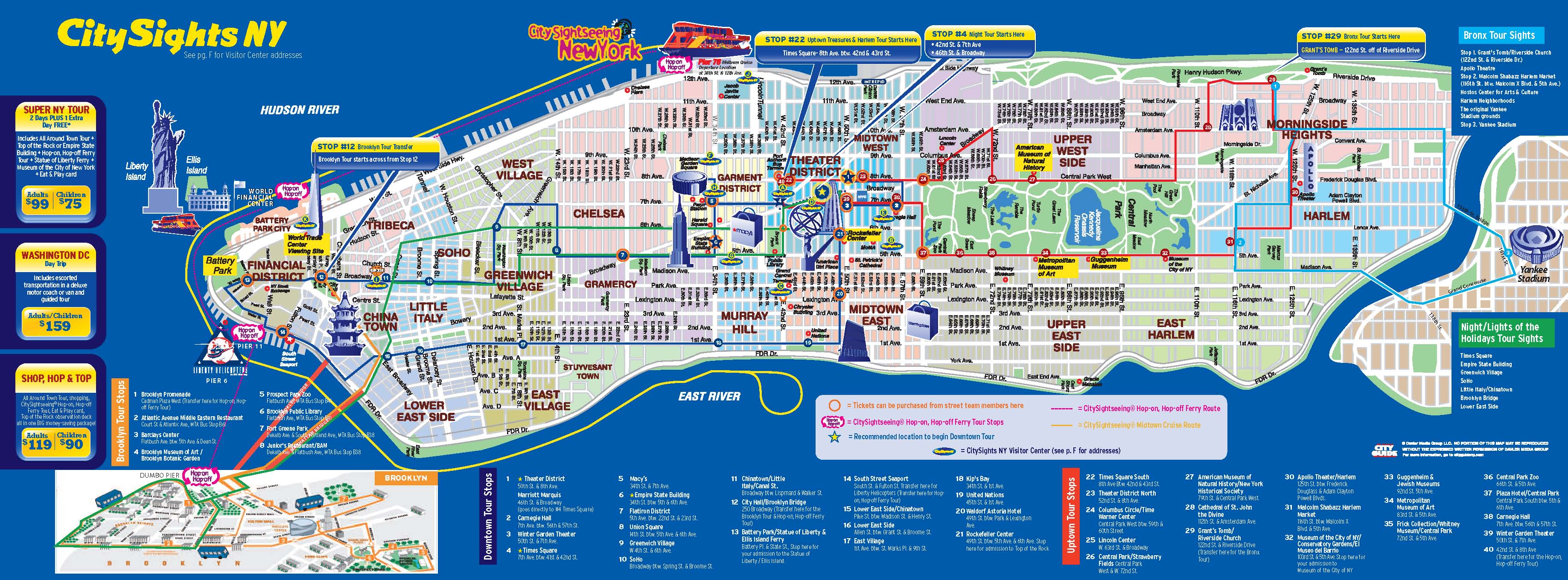 New York CitySights Bus Map