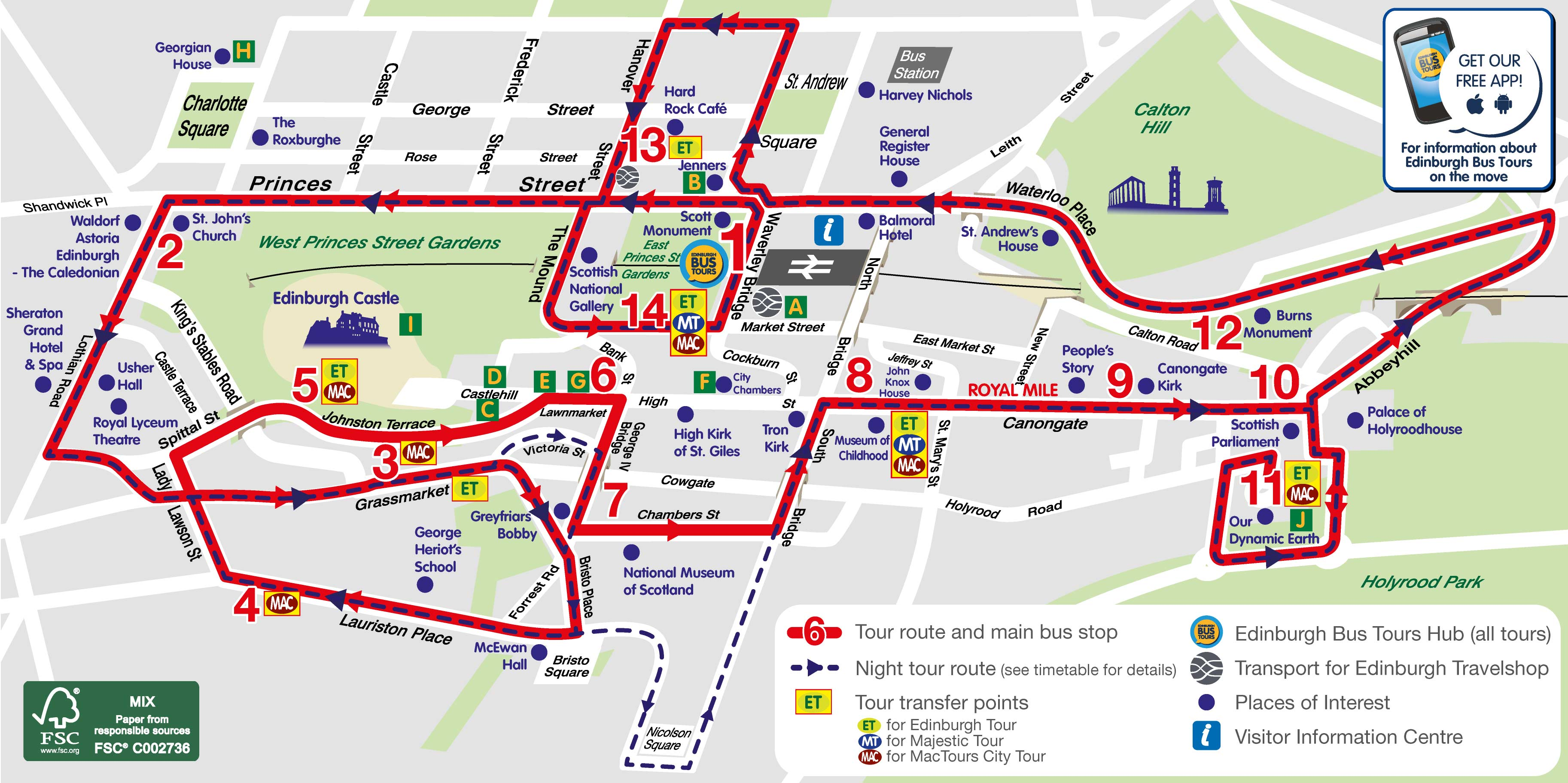 Royal Edinburgh with Bus Tours Map