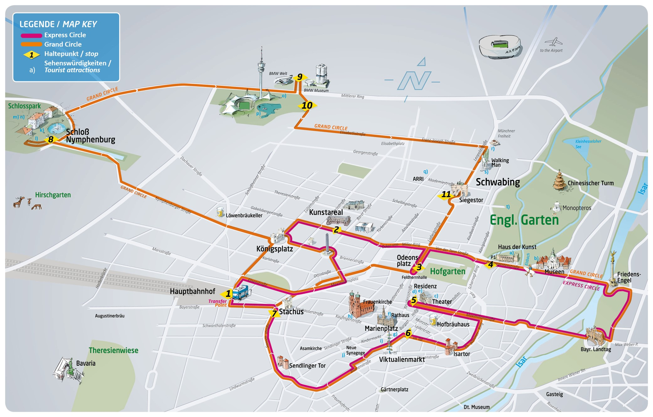 City Sightseeing Munich Hop on Hop off Map