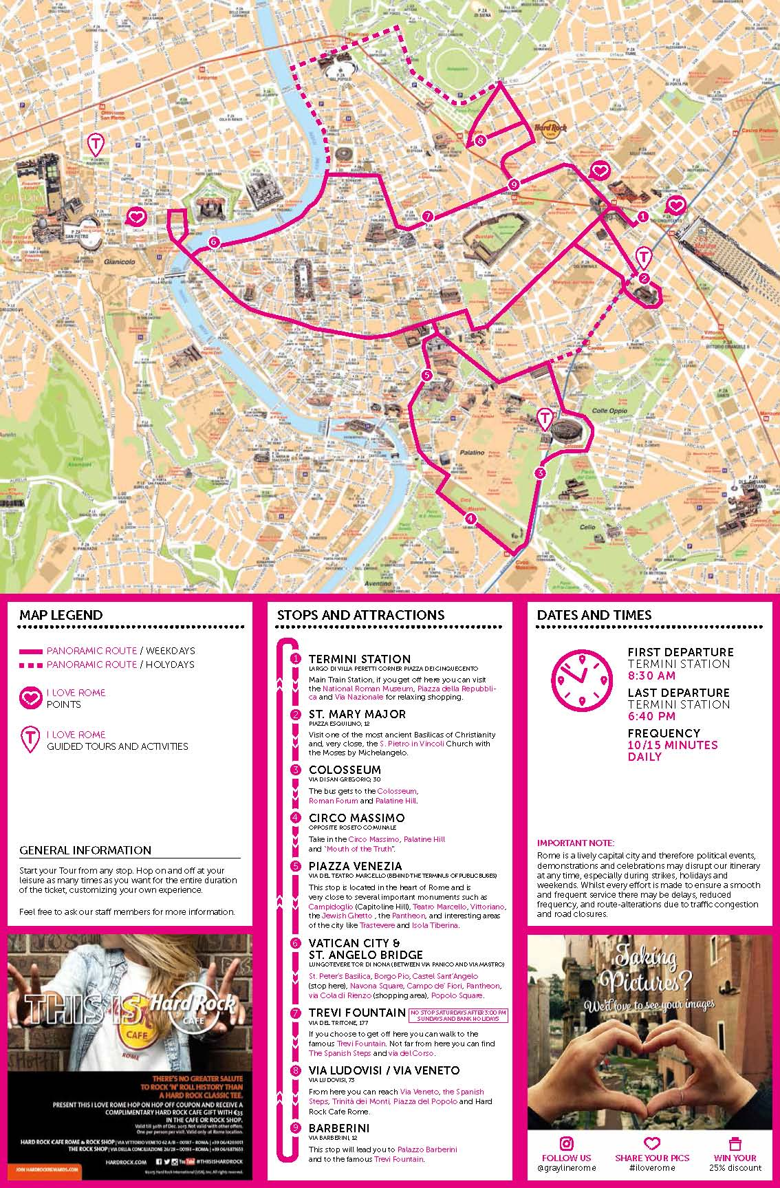 Rome Attractions Map Pdf Free Printable Tourist Map Rome