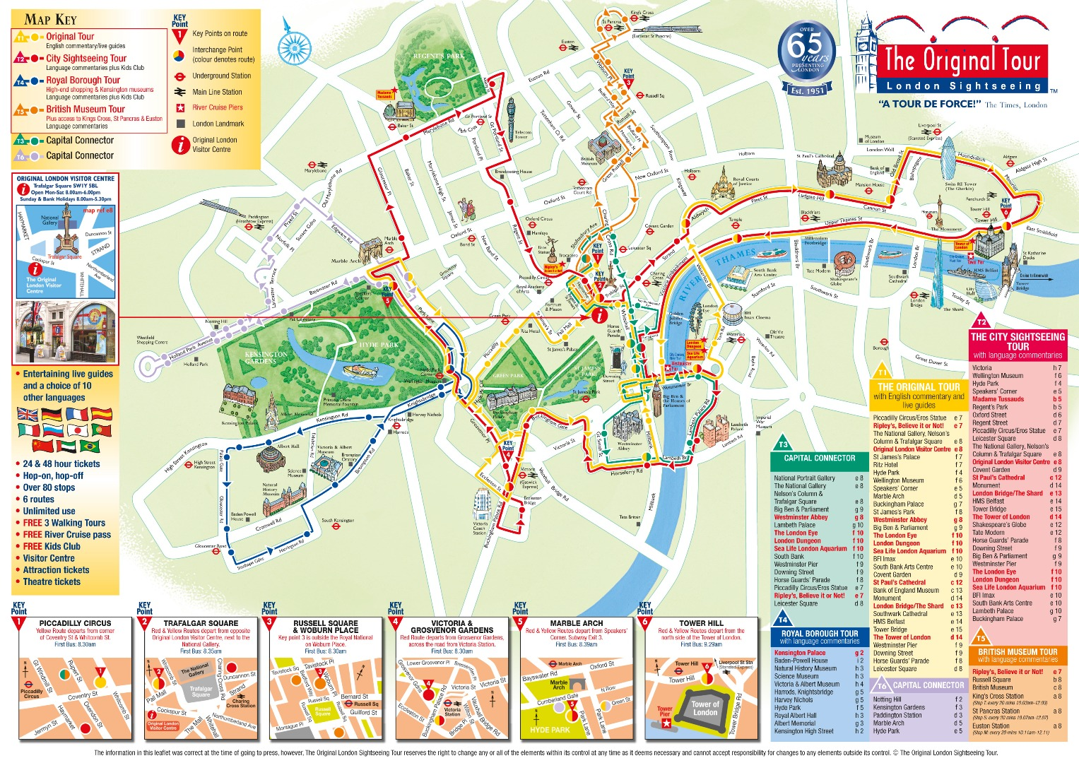 The Original London Sightseeing Bus Map