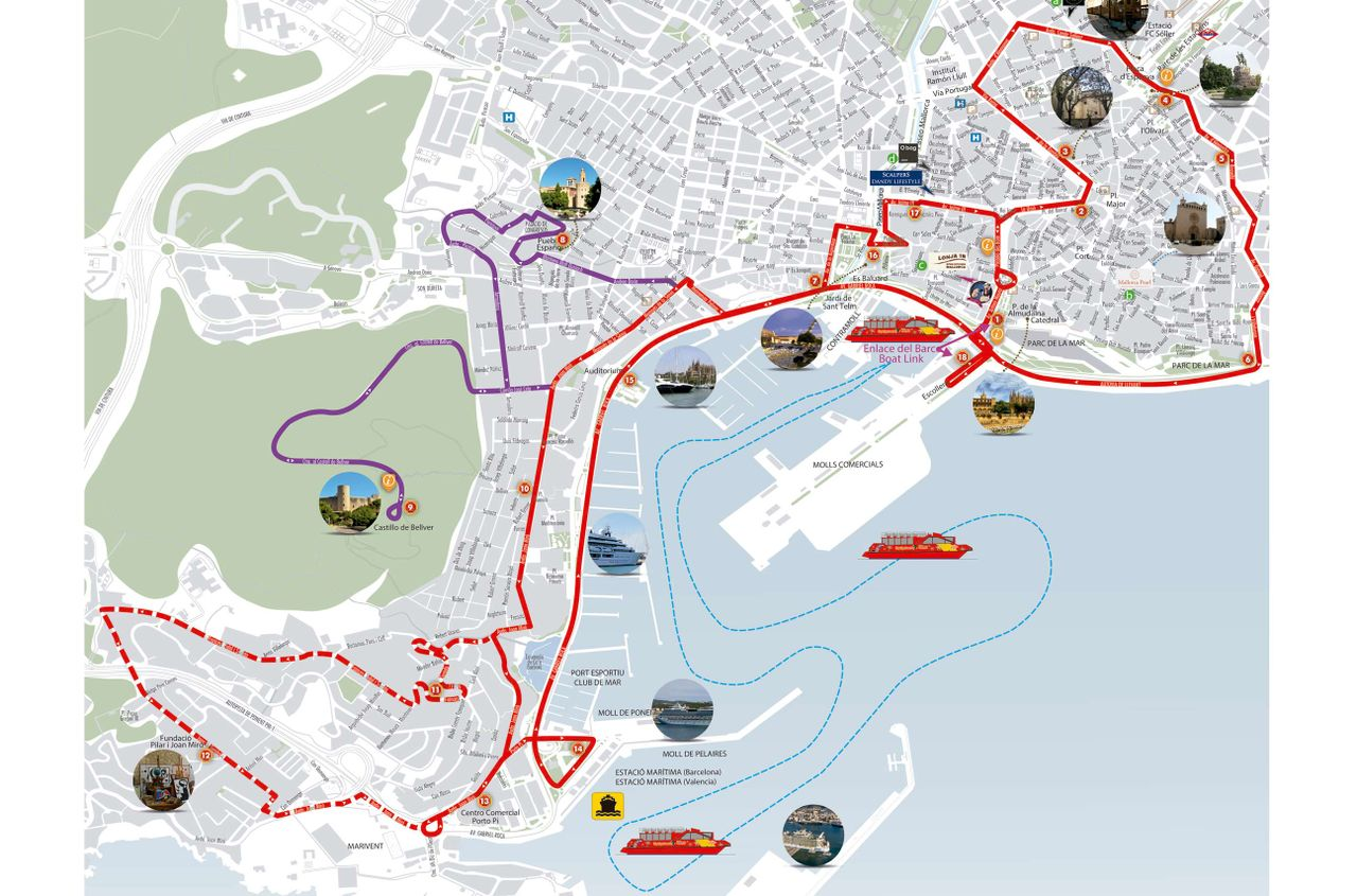 Palma City Sightseeing Lleida Hop-On Hop-Off Bus Map