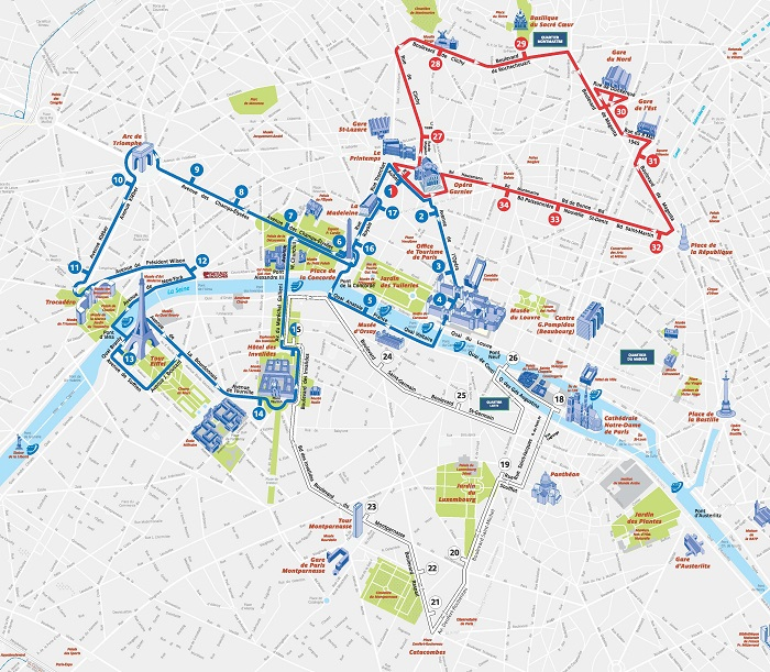 Paris Attractions Map PDF - FREE Printable Tourist Map Paris, Waking ...
