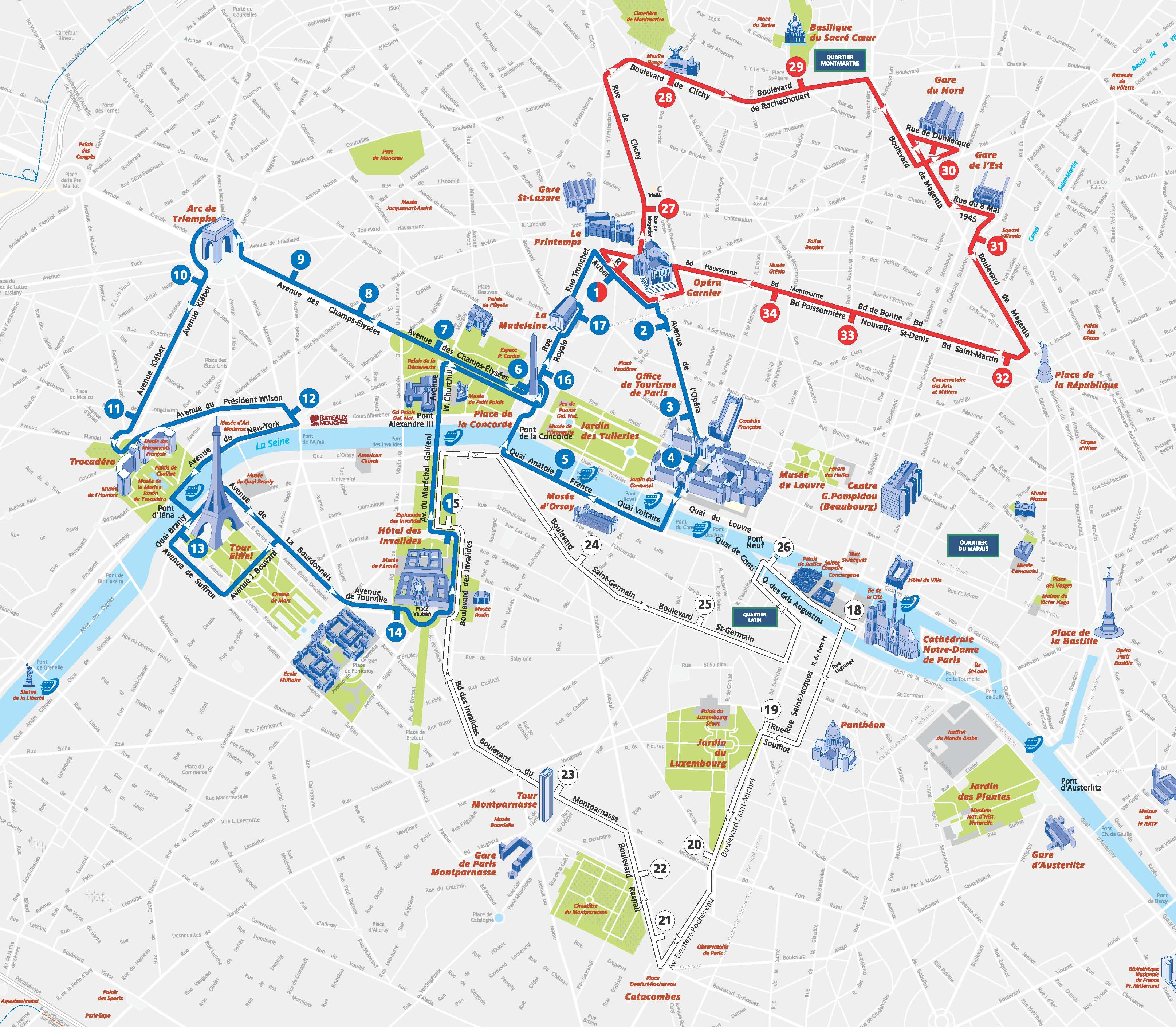 Open Tour Paris Bus Map