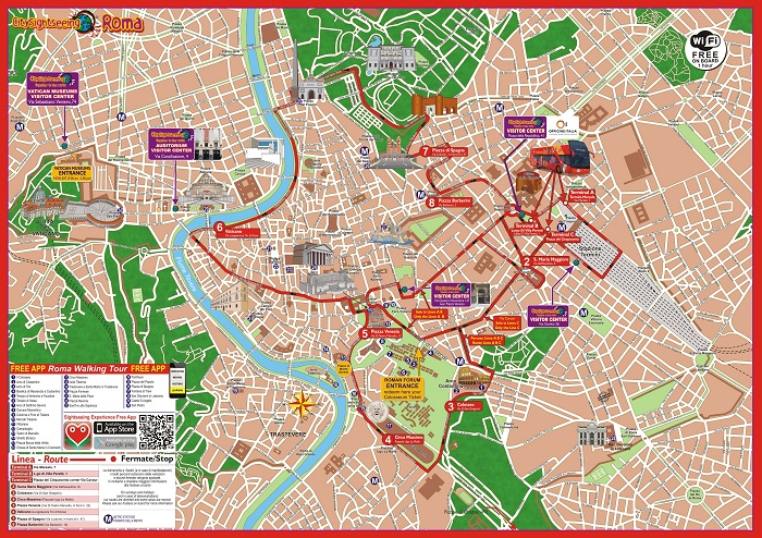 Rome Bus Tour with Skip-the-line Vatican Museum and Sistine Chapel Bus Map