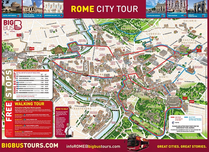 Rome Attractions Map PDF - FREE Printable Tourist Map Rome, Waking on