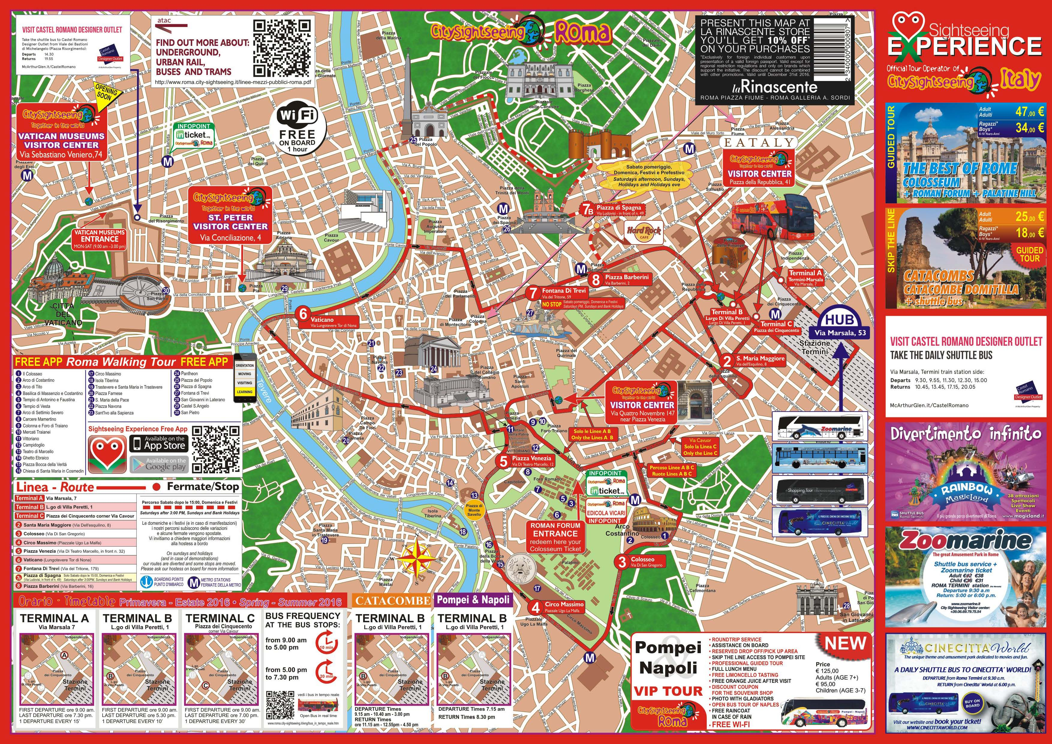 Rome Sightseeing Roma Bus Map