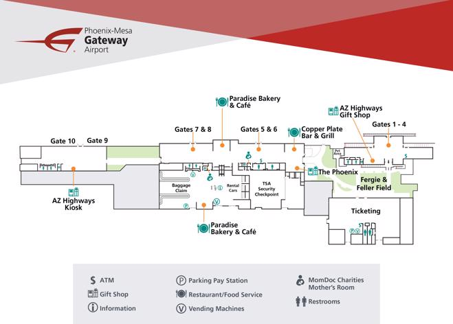 Phoenix-Mesa Gateway Airport Map (AZA) - Printable Terminal ...
