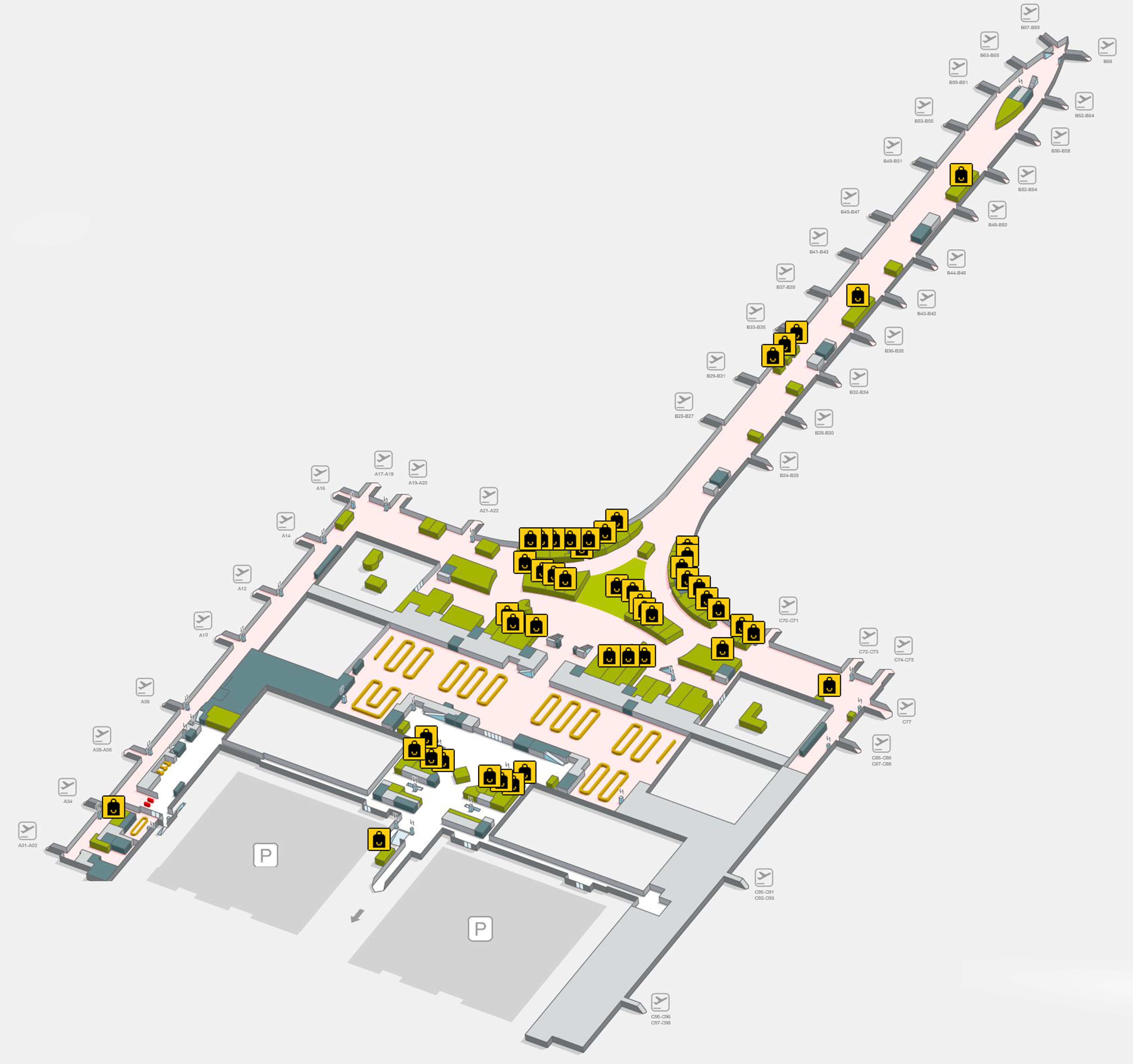 Mapa Terminal 1 Barcelona.Barcelona Airport Map Bcn Printable Terminal Maps Shops