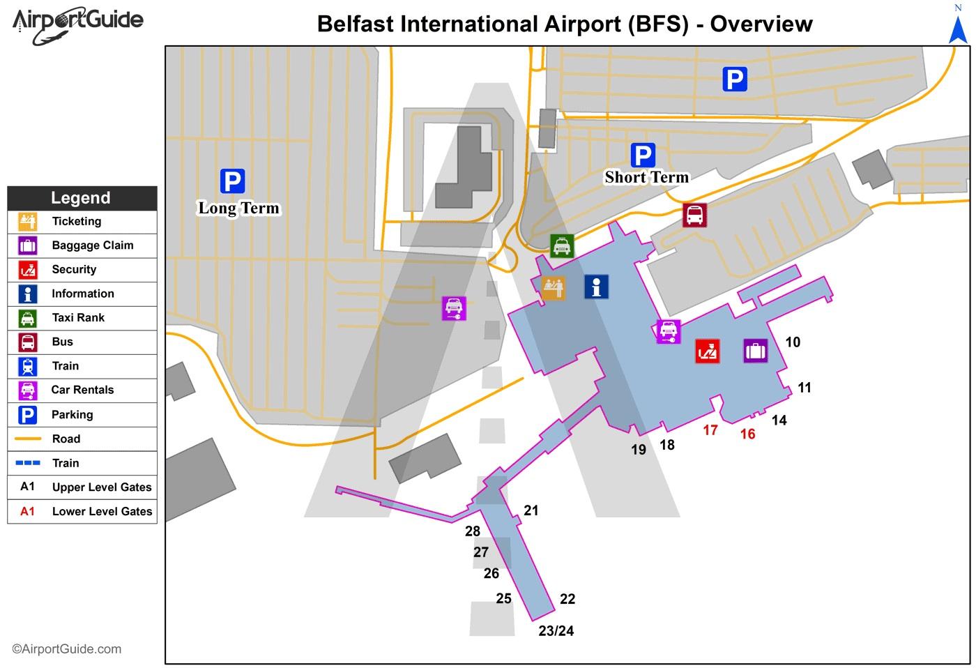 Belfast International Airport Map (BFS) - Printable Terminal Maps ...