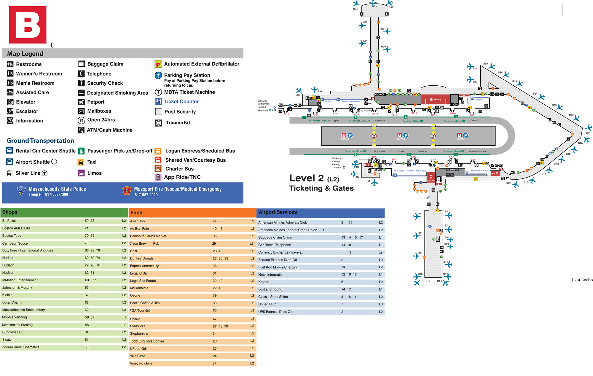 Boston Logan Airport Map (BOS) - Printable Terminal Maps ...