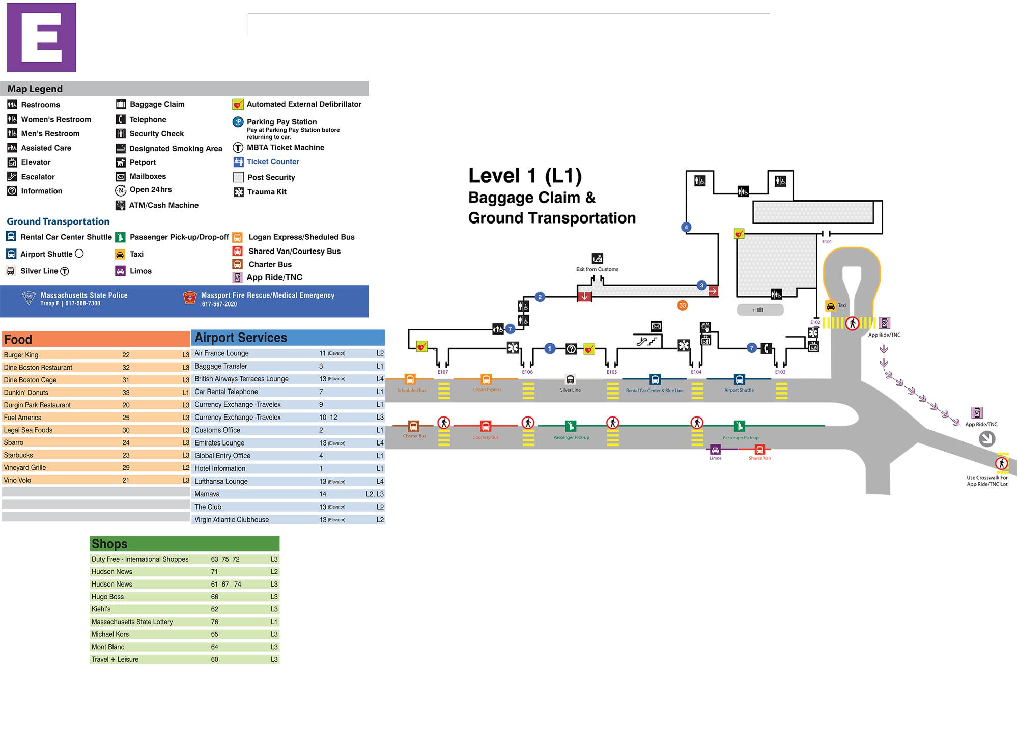Boston Logan International Airport Map - Printable Terminal Maps ...