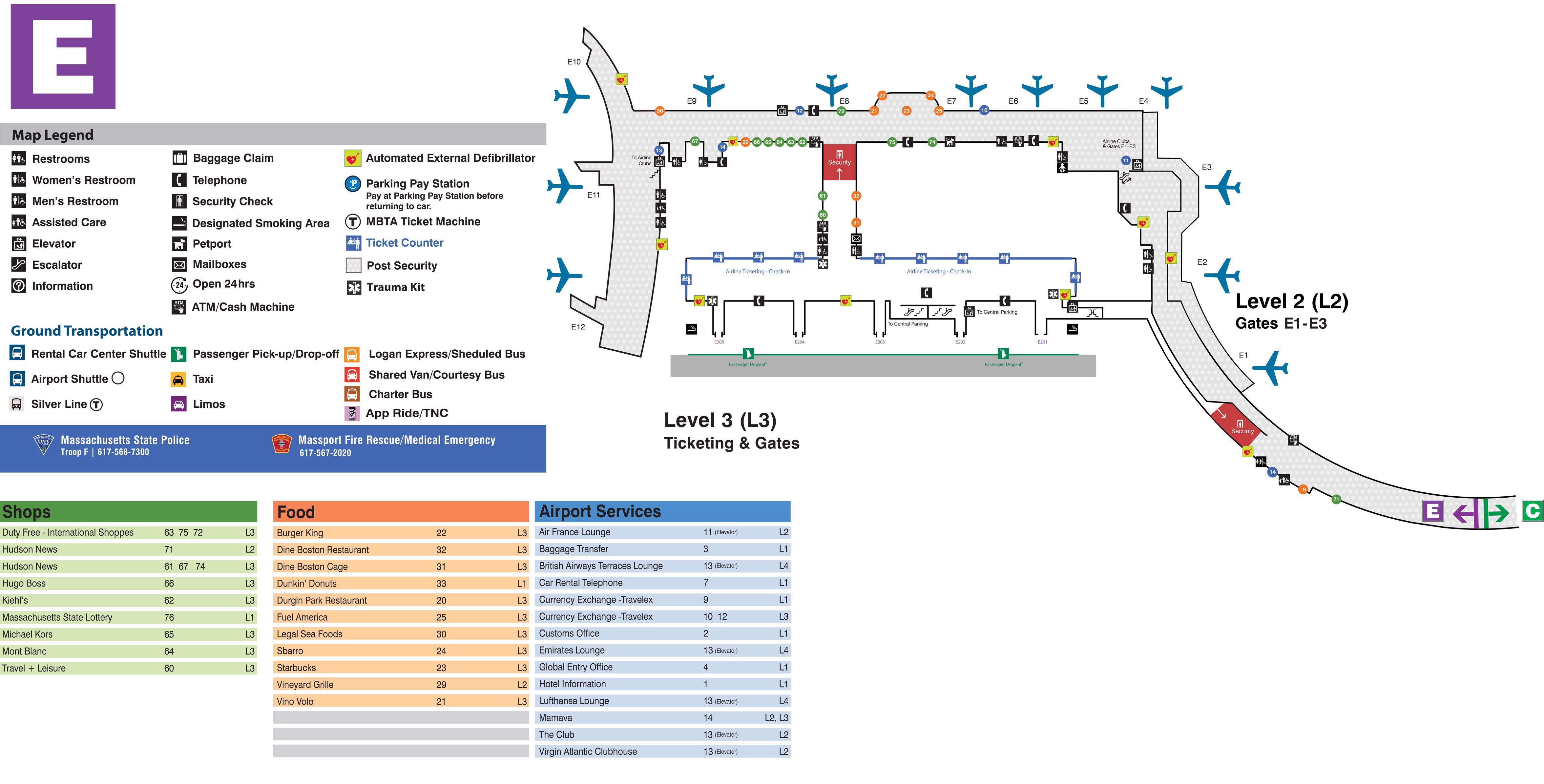 boston logan airport map (bos) - printable terminal maps