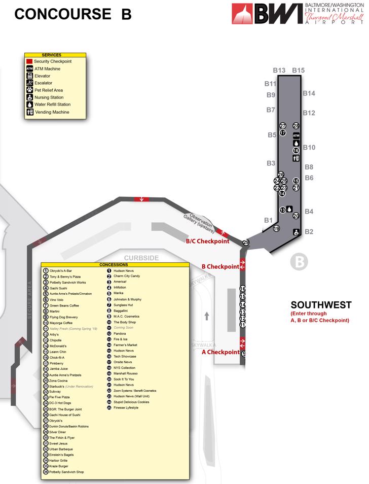 Baltimore-Washington International Airport Map (BWI