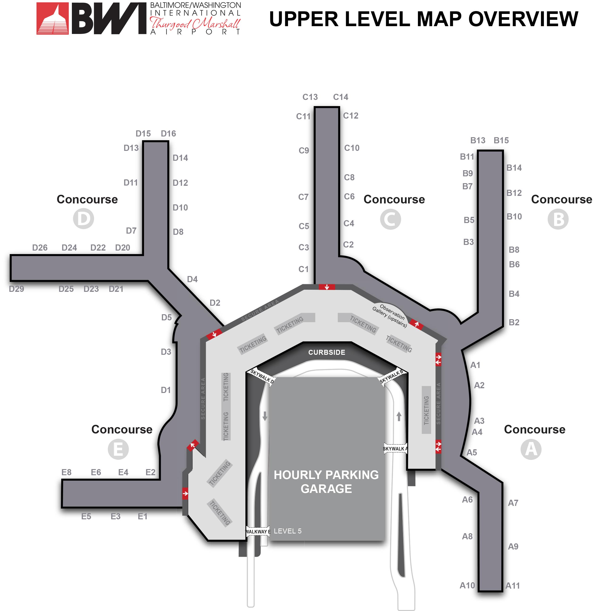 Baltimore-Washington International Airport Map - Printable Terminal ...