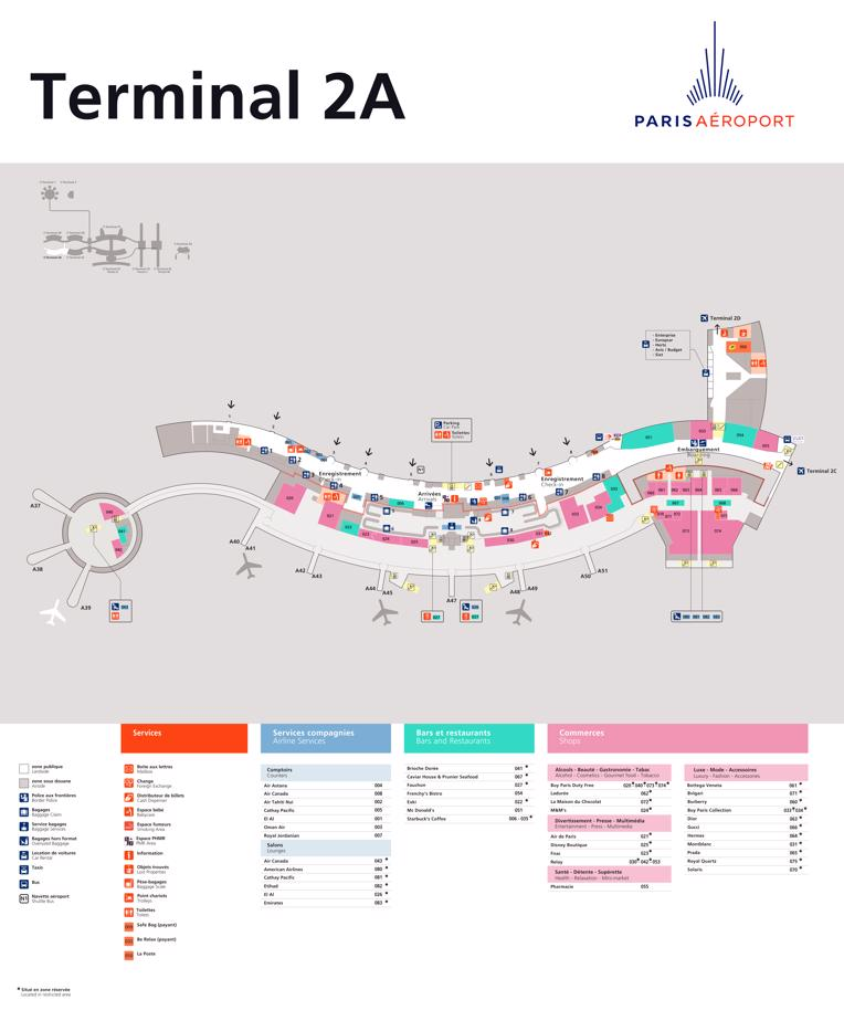 Charles de Gaulle Map (CDG) - Printable Terminal Maps, Shops, Food on