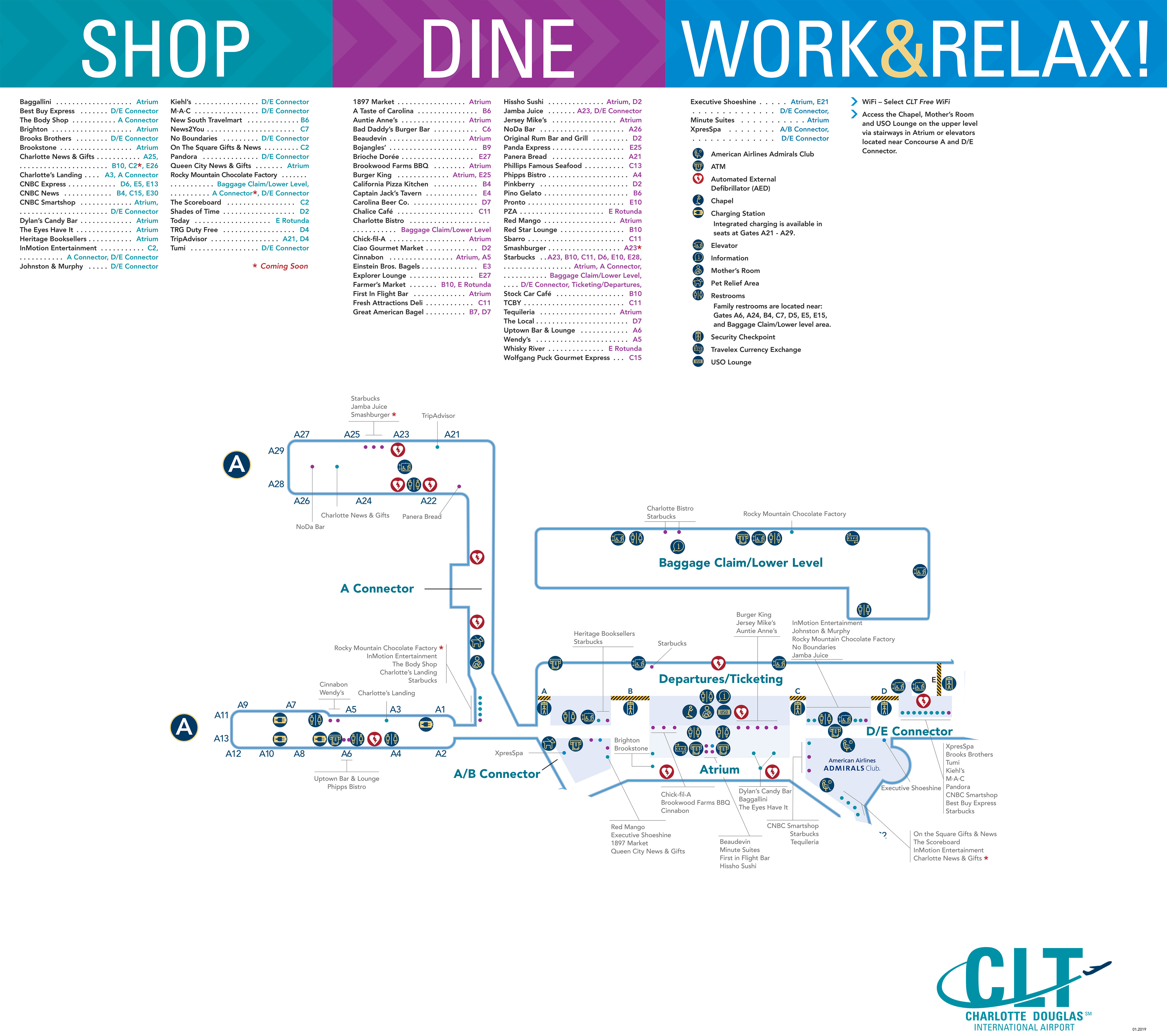 Charlotte Douglas Airport Map - Printable Terminal Maps, Shops, Food ...