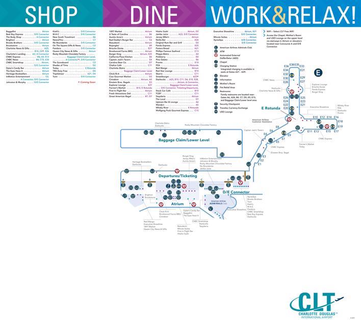 Charlotte Douglas Airport Map (CLT) - Printable Terminal Maps, Shops on