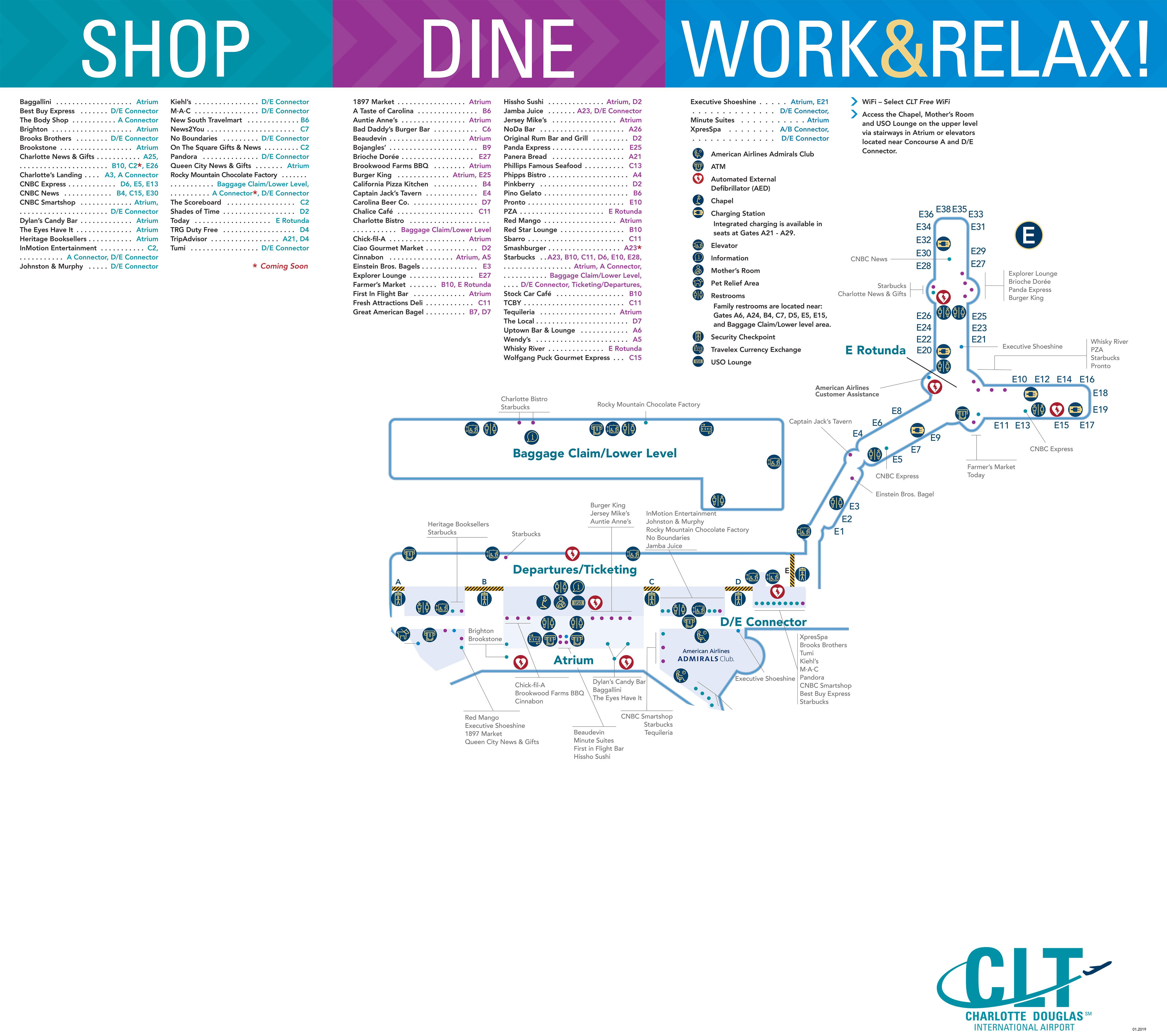 charlotte douglas airport map (clt) - printable terminal