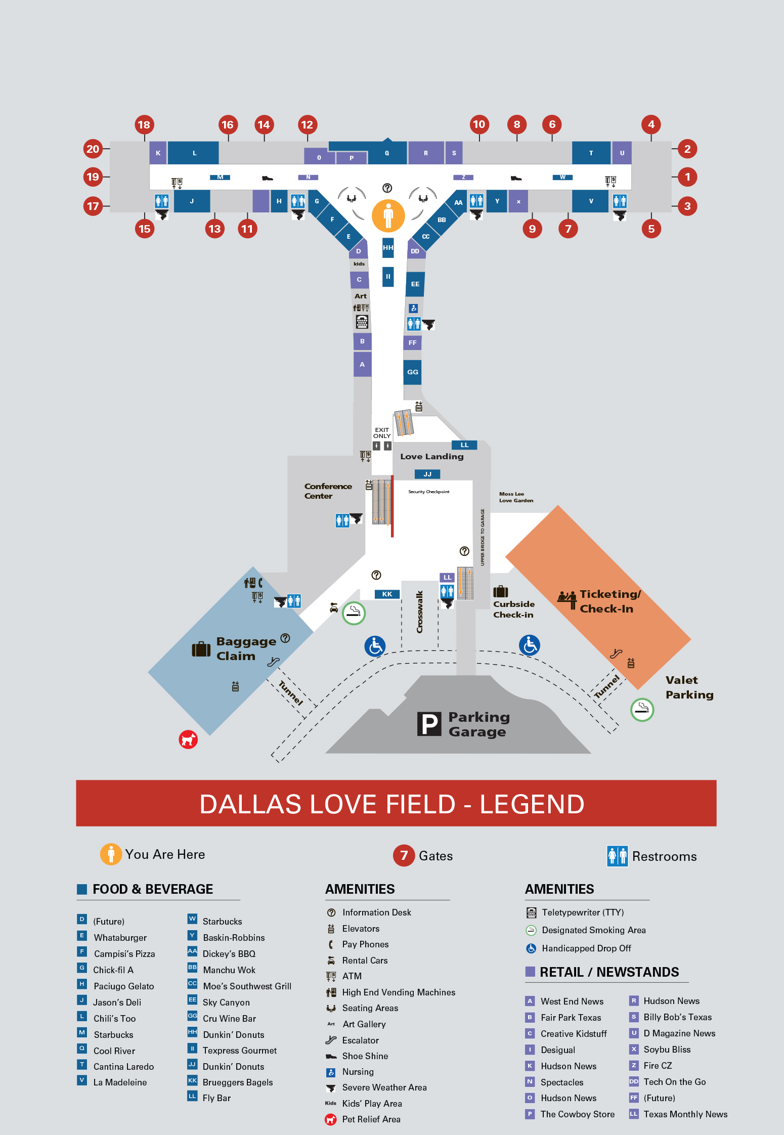Dallas Love Field Airport Map Dal Printable Terminal