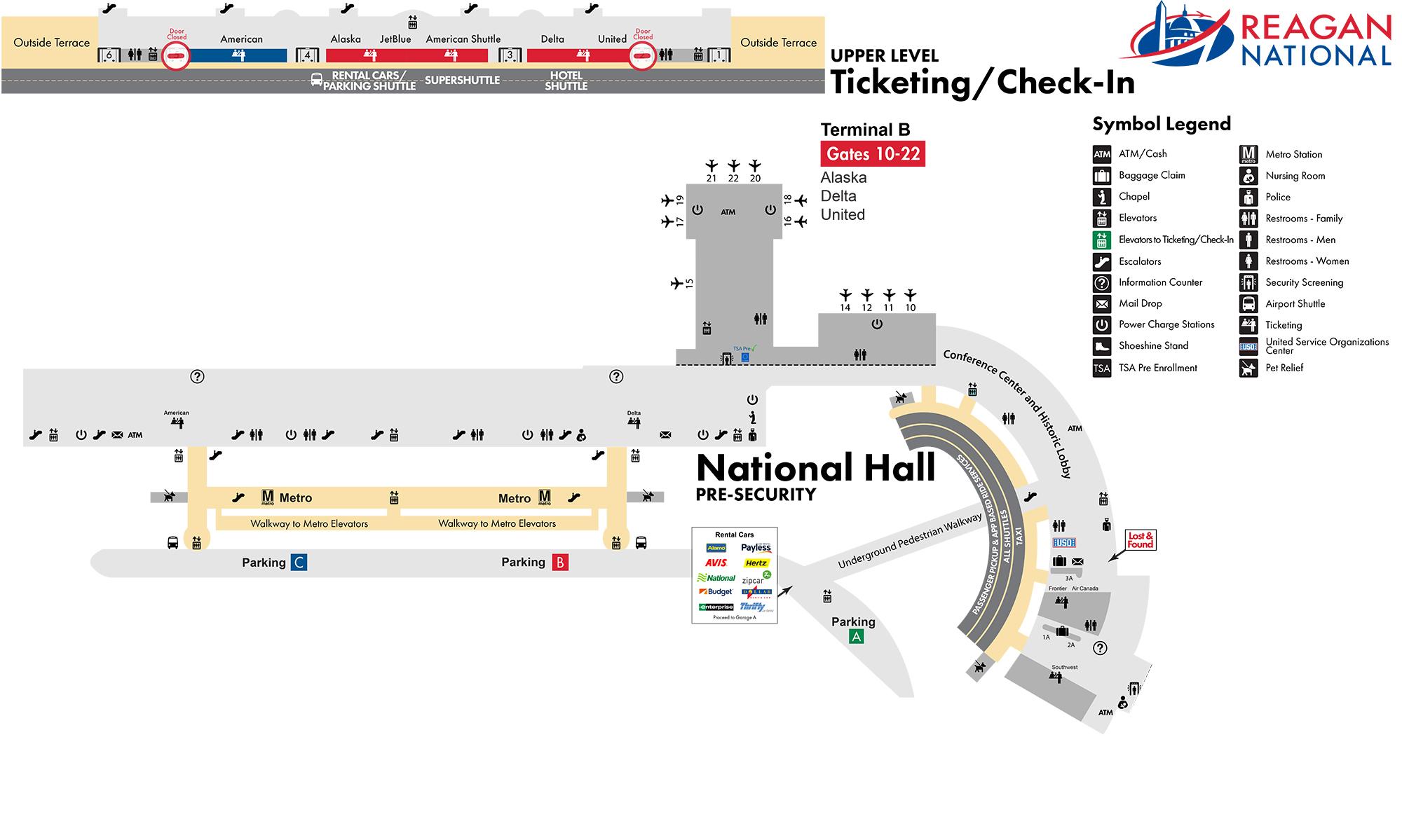 Ronald Reagan Washington National Airport Map (DCA ...
