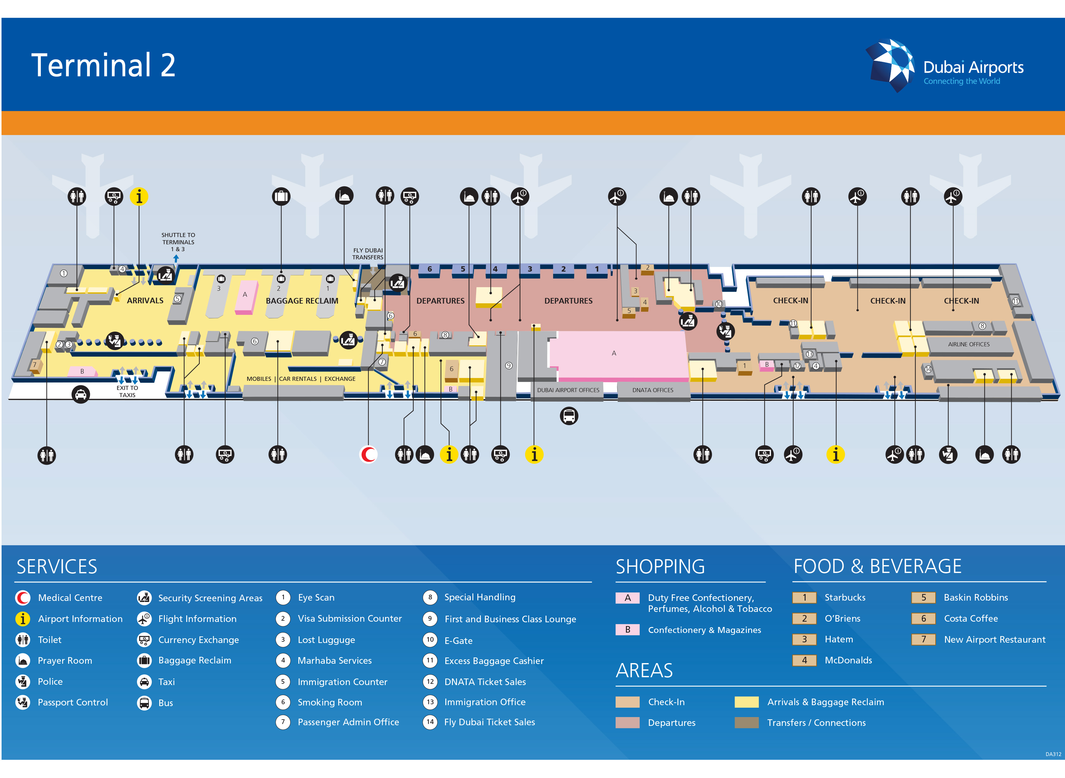 Dubai Airport Map (DXB) - Printable Terminal Maps, Shops, Food ... on