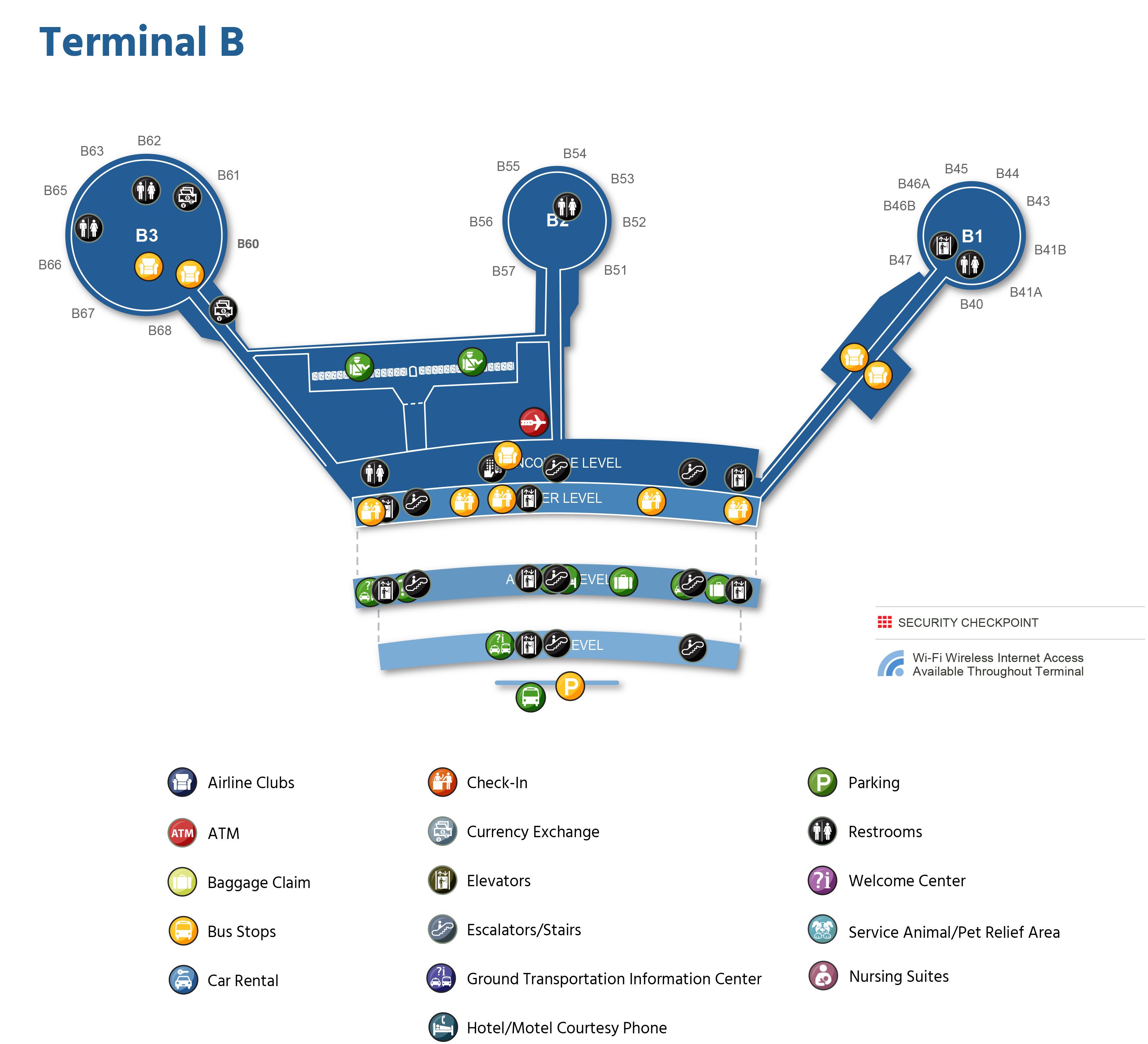 Newark Liberty International Airport Map (EWR) - Printable Terminal ...