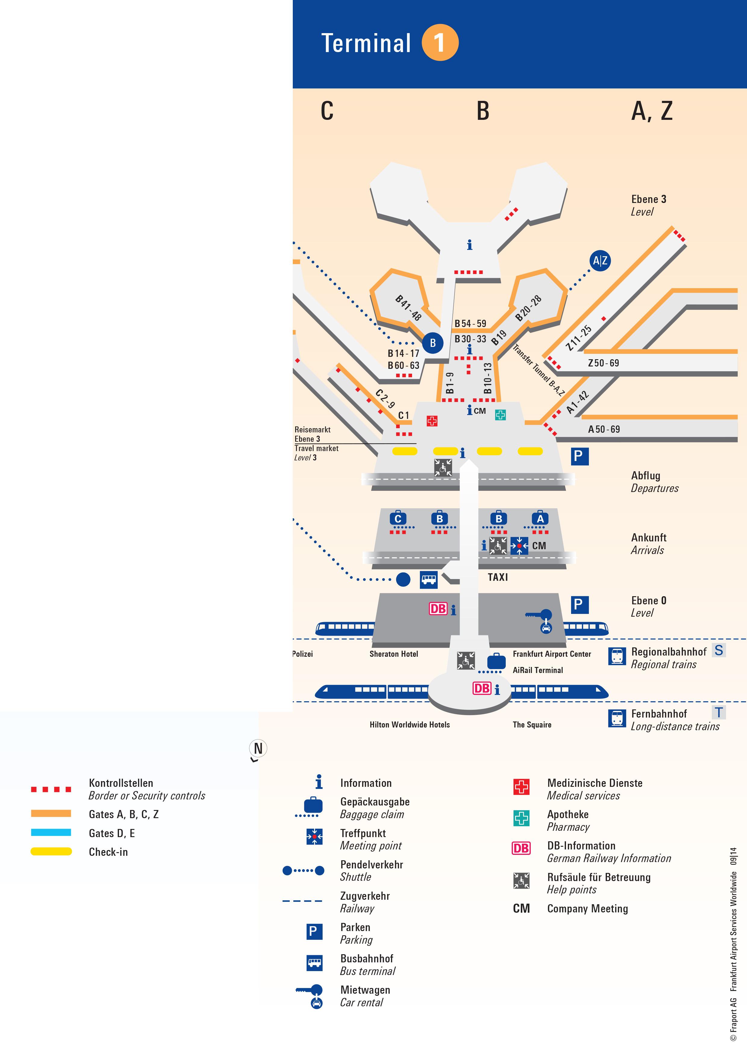 Frankfurt Airport Map Fra Printable Terminal Maps Shops Food