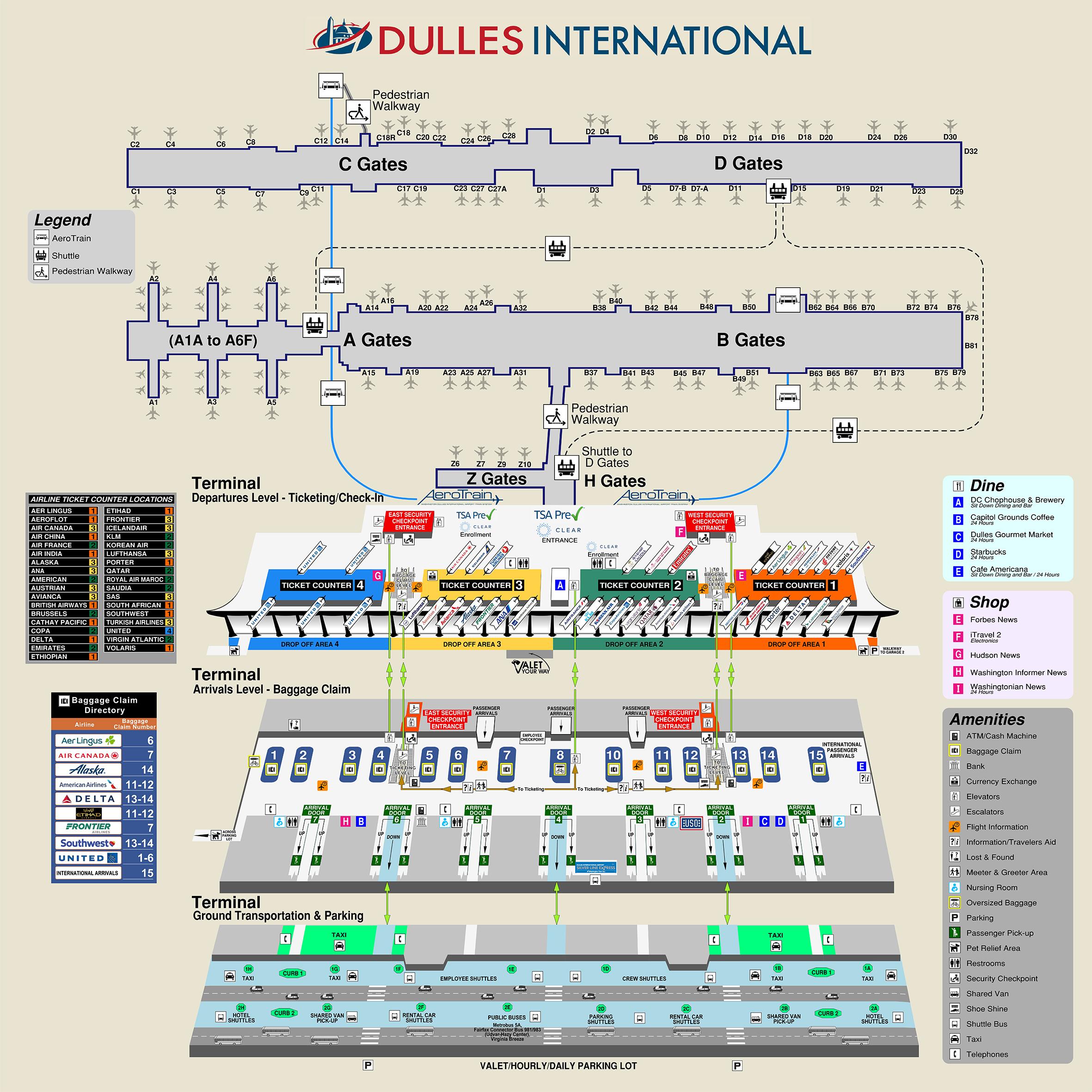 Dulles Airport Map (IAD) - Printable Terminal Maps, Shops ...