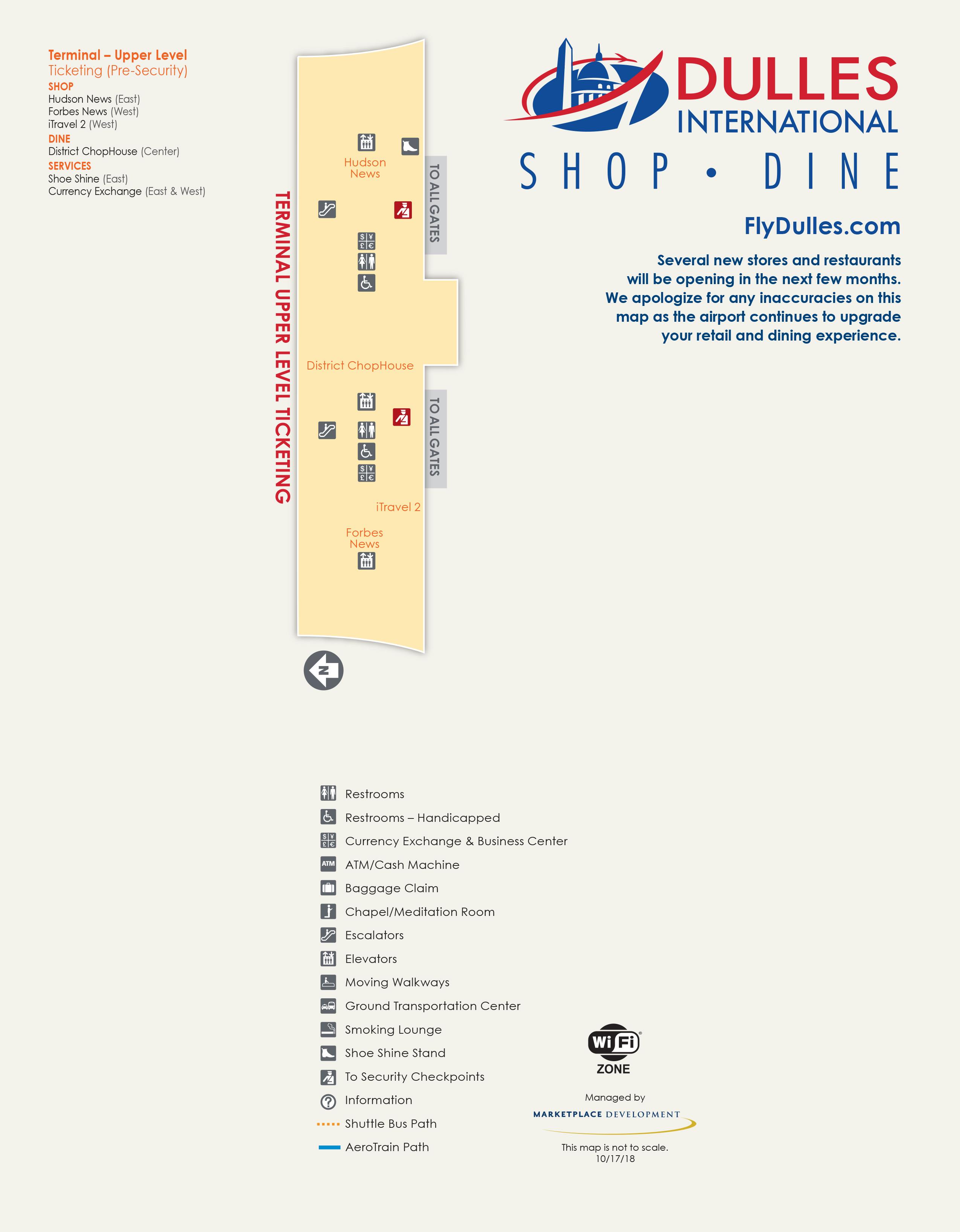 Dulles International Airport Map - Printable Terminal Maps, Shops ...