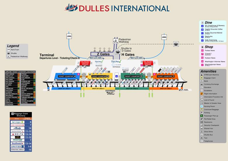 Dulles International Airport Map (IAD) - Printable Terminal ...