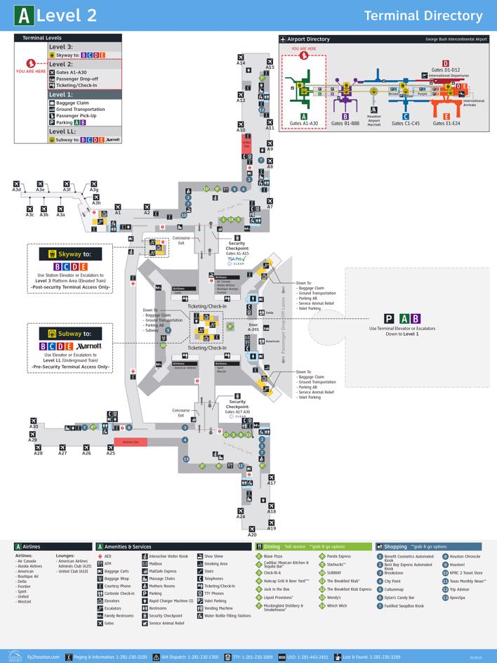 George Bush Intercontinental Airport Map Iah Printable