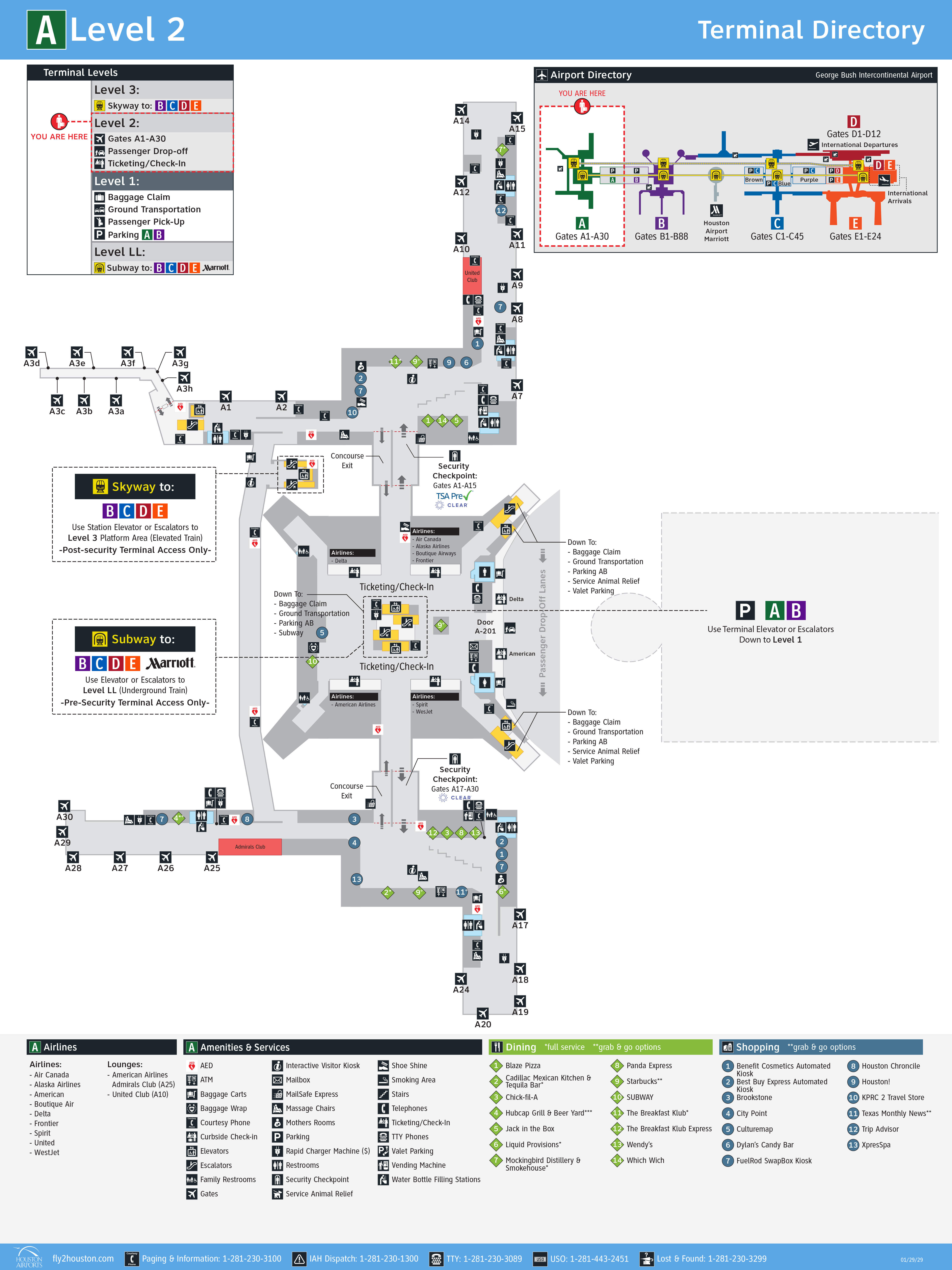 George Bush Intercontinental Airport Map - Printable Terminal Maps ...