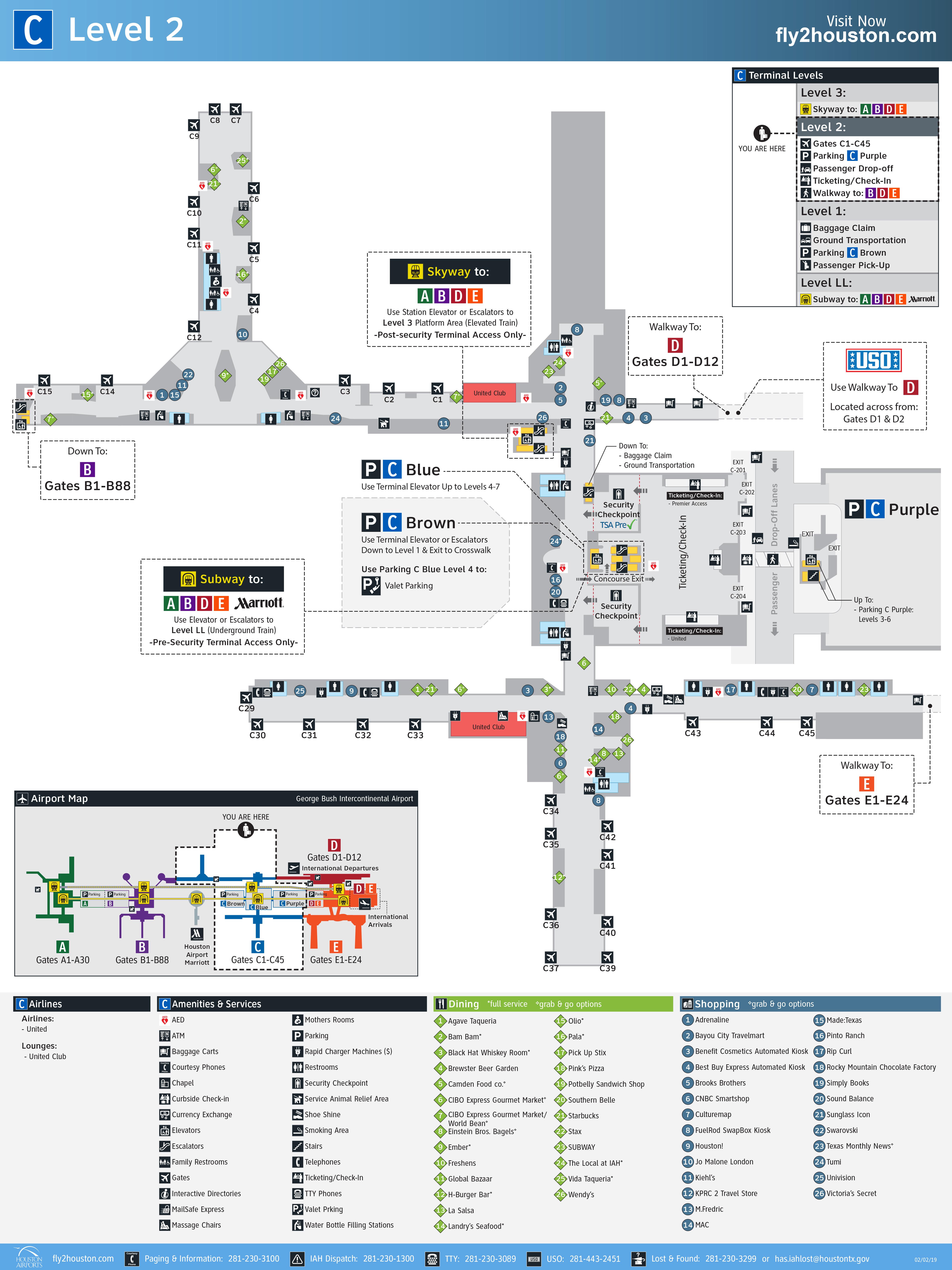 George Bush Intercontinental Airport Map (IAH) - Printable Terminal ...