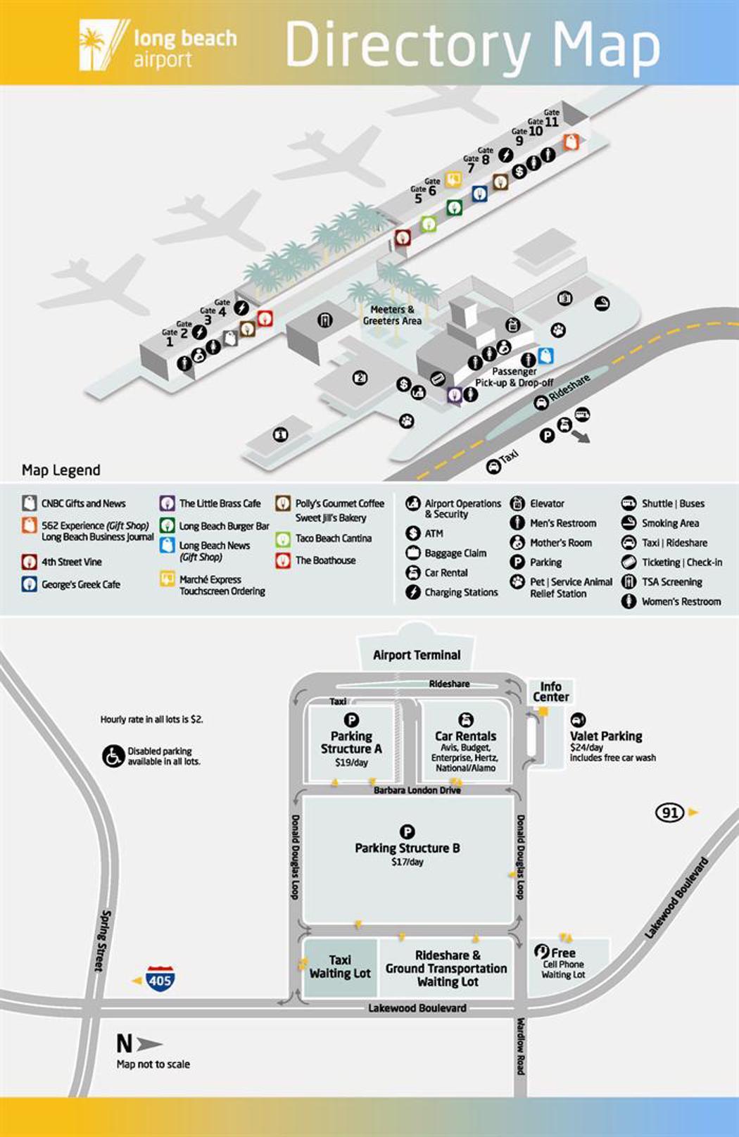 long beach airport map (lgb) - printable terminal maps