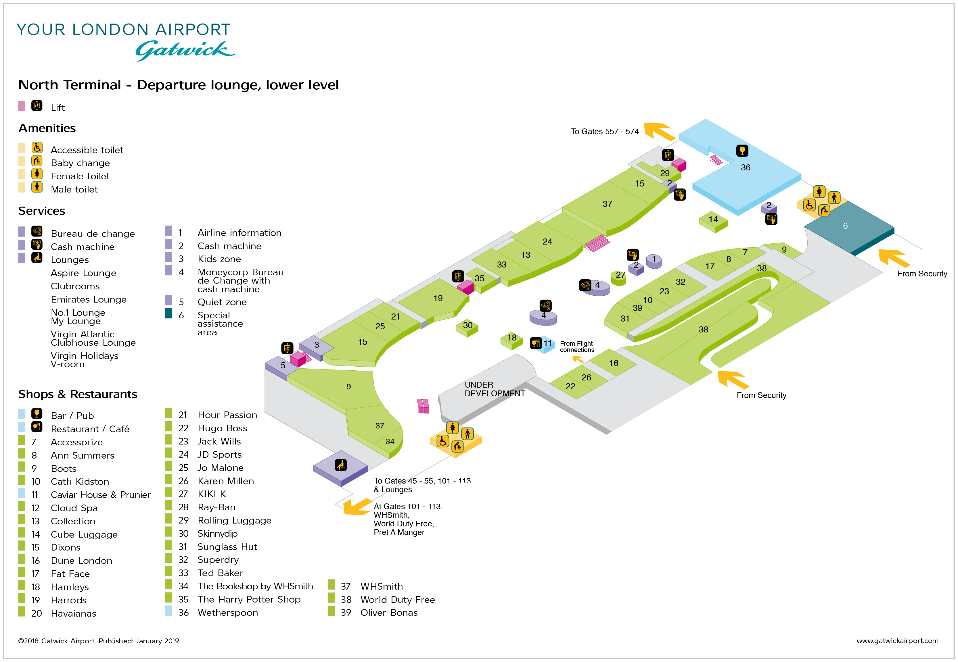 Gatwick Airport Map (LGW) - Printable Terminal Maps, Shops, Food ...