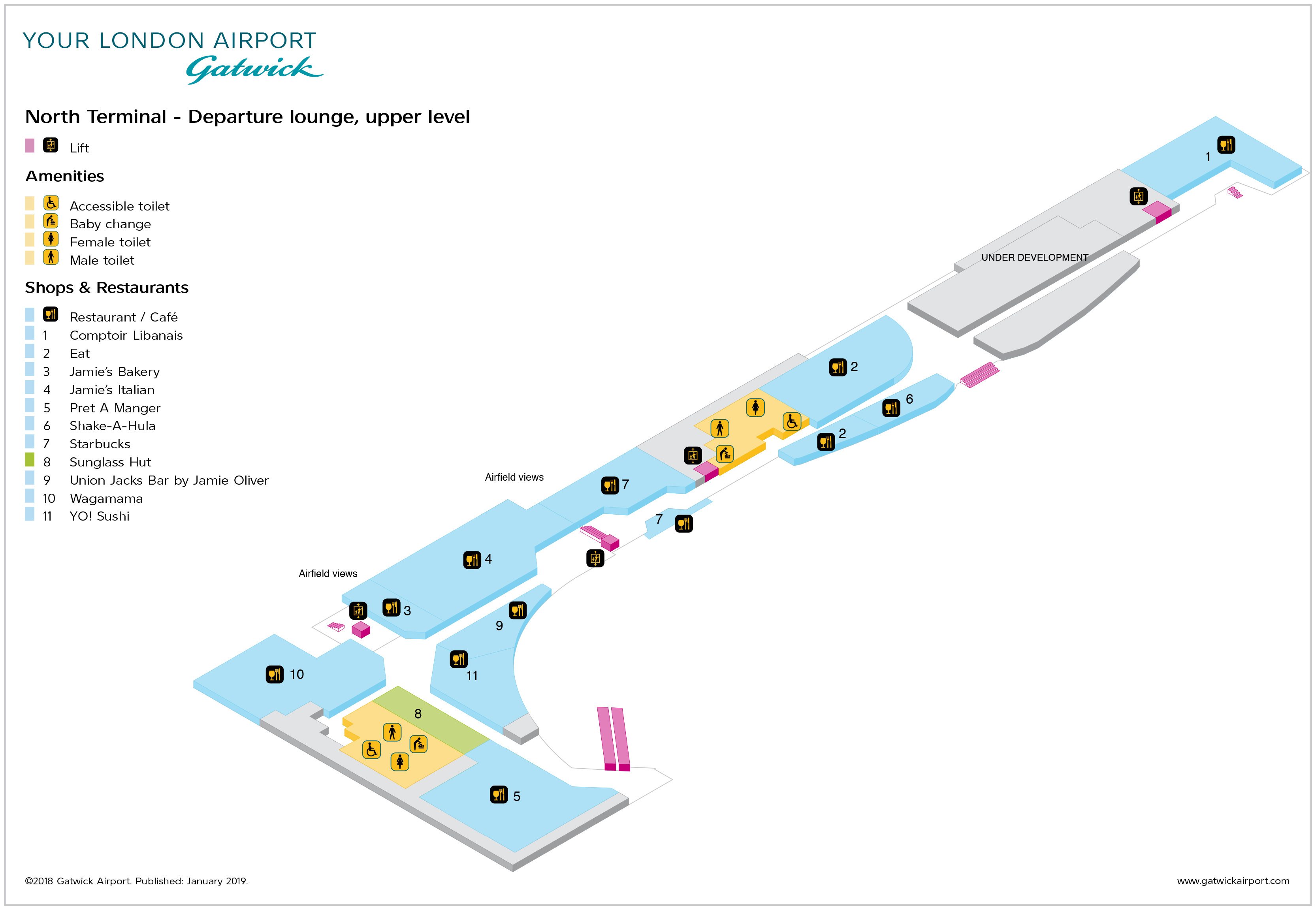 Gatwick Airport Map Lgw Printable Terminal Maps Shops Food