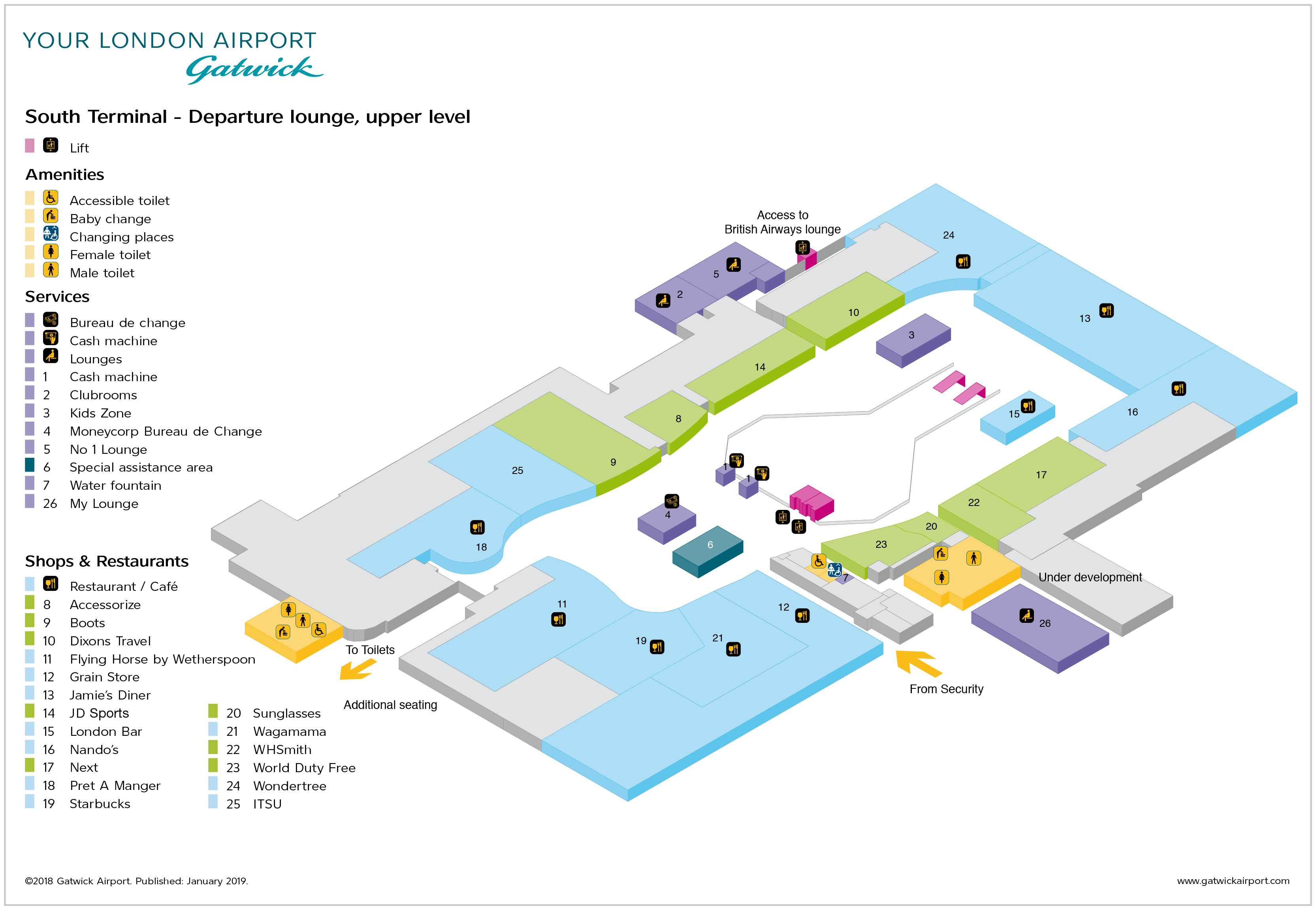 c39c85e2a Gatwick Airport Map (LGW) - Printable Terminal Maps, Shops, Food ...