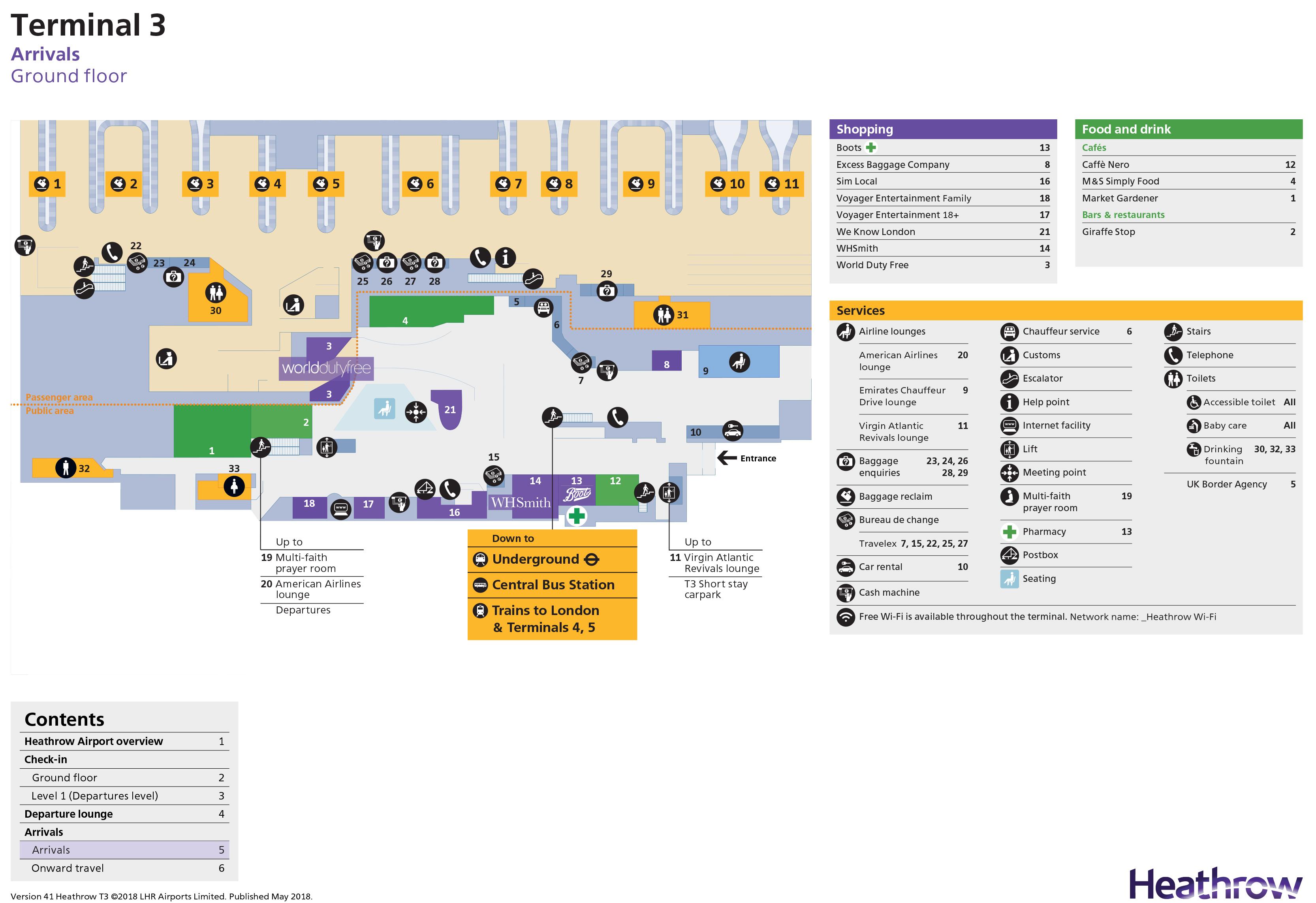 Heathrow Terminal 3 Map Heathrow Airport Map (LHR)   Printable Terminal Maps, Shops, Food