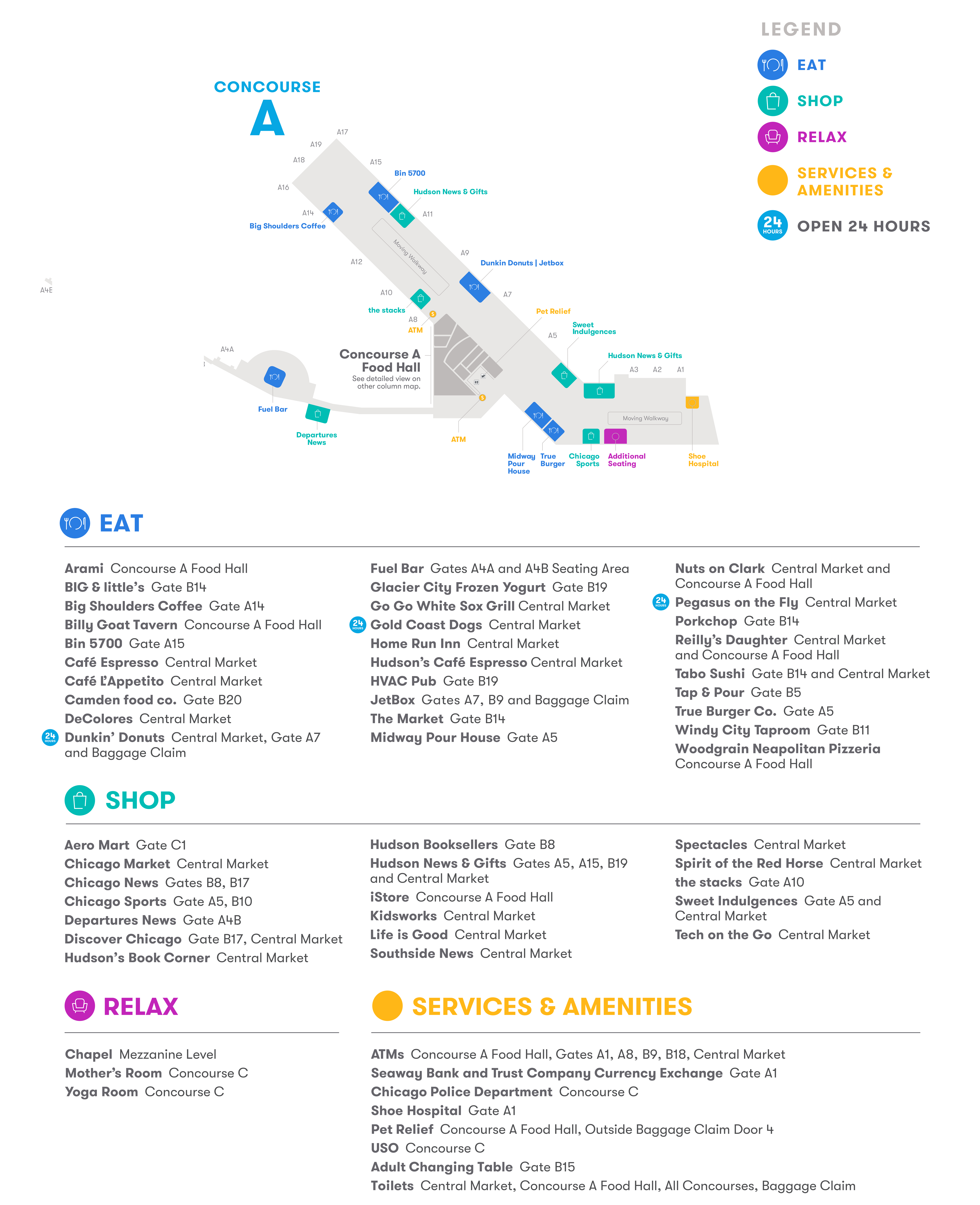 chicago midway airport map (mdw) - printable terminal maps