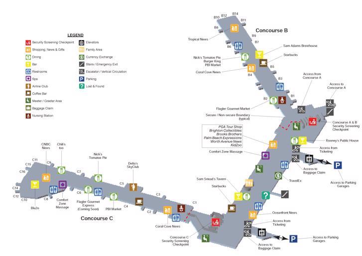 palm beach airport(pbi) terminal maps, shops, restaurants