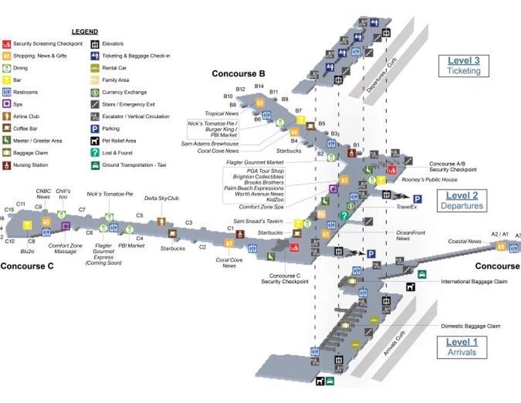 palm beach airport map (pbi) - printable terminal maps