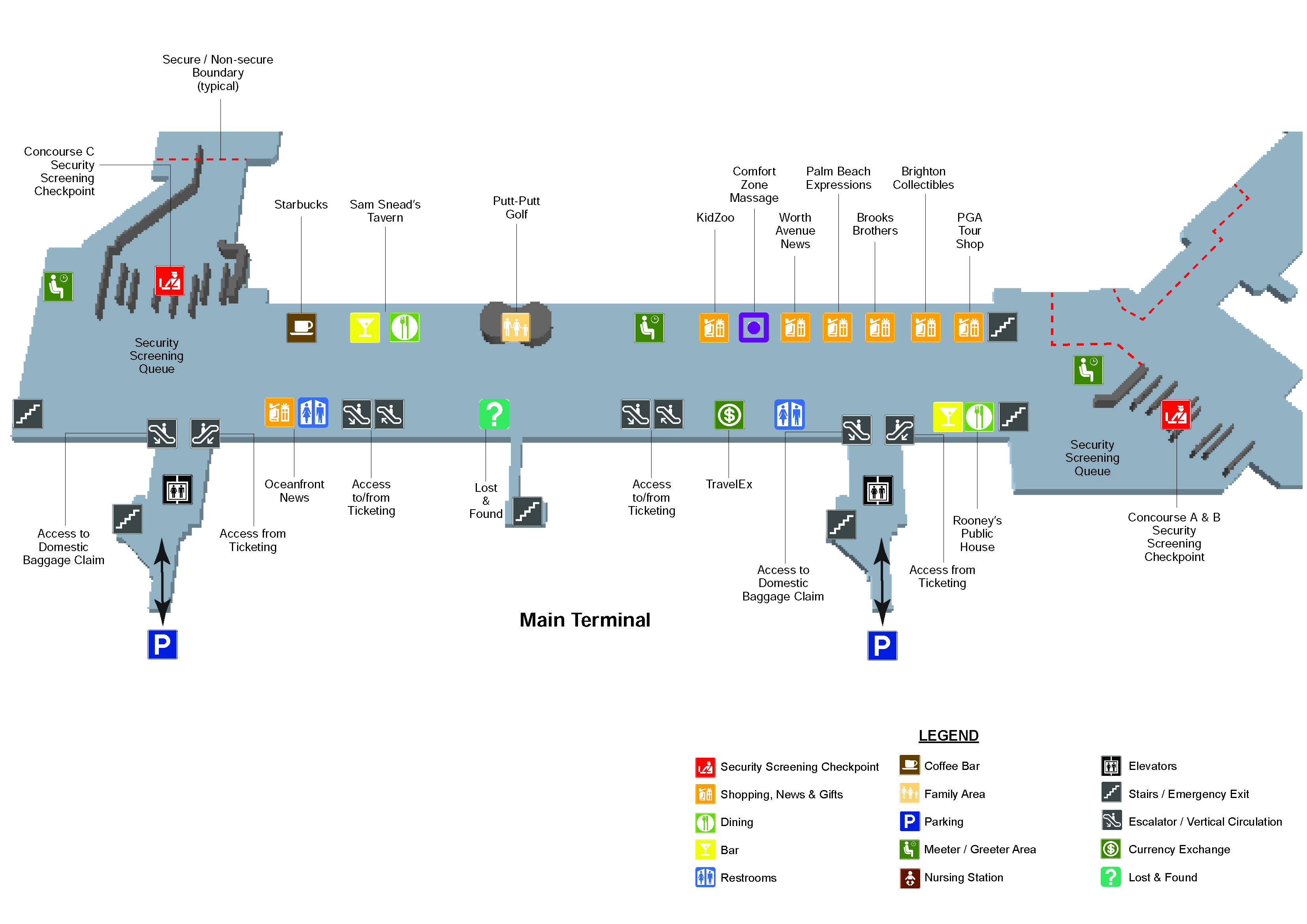 Palm Beach International Airport Map (PBI) - Printable Terminal Maps ...