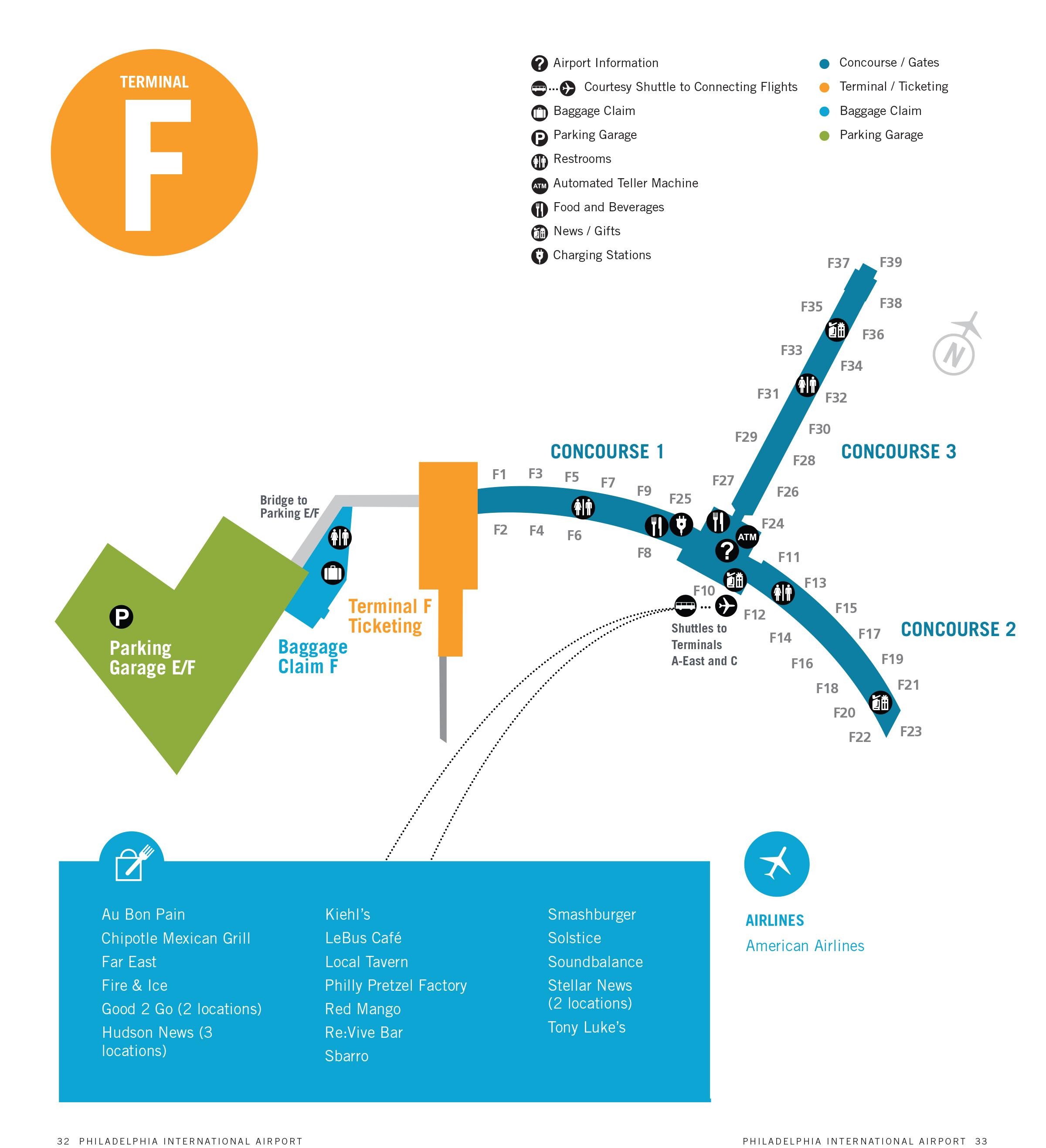 philadelphia airport map (phl) - printable terminal maps