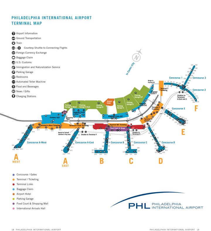 Philadelphia Airport Map Phl Printable Terminal Maps